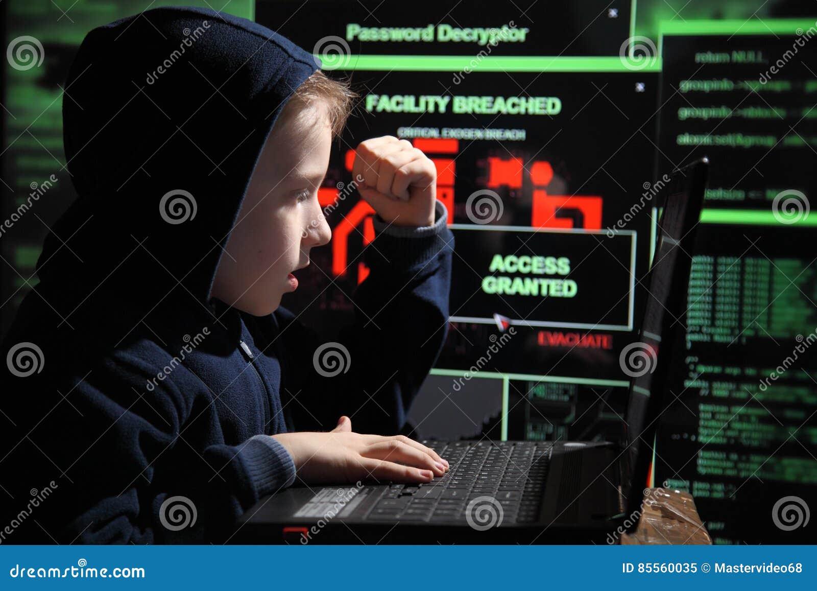 Prodígio novo da estudante - um hacker O estudante dotado participa no sistema bancário