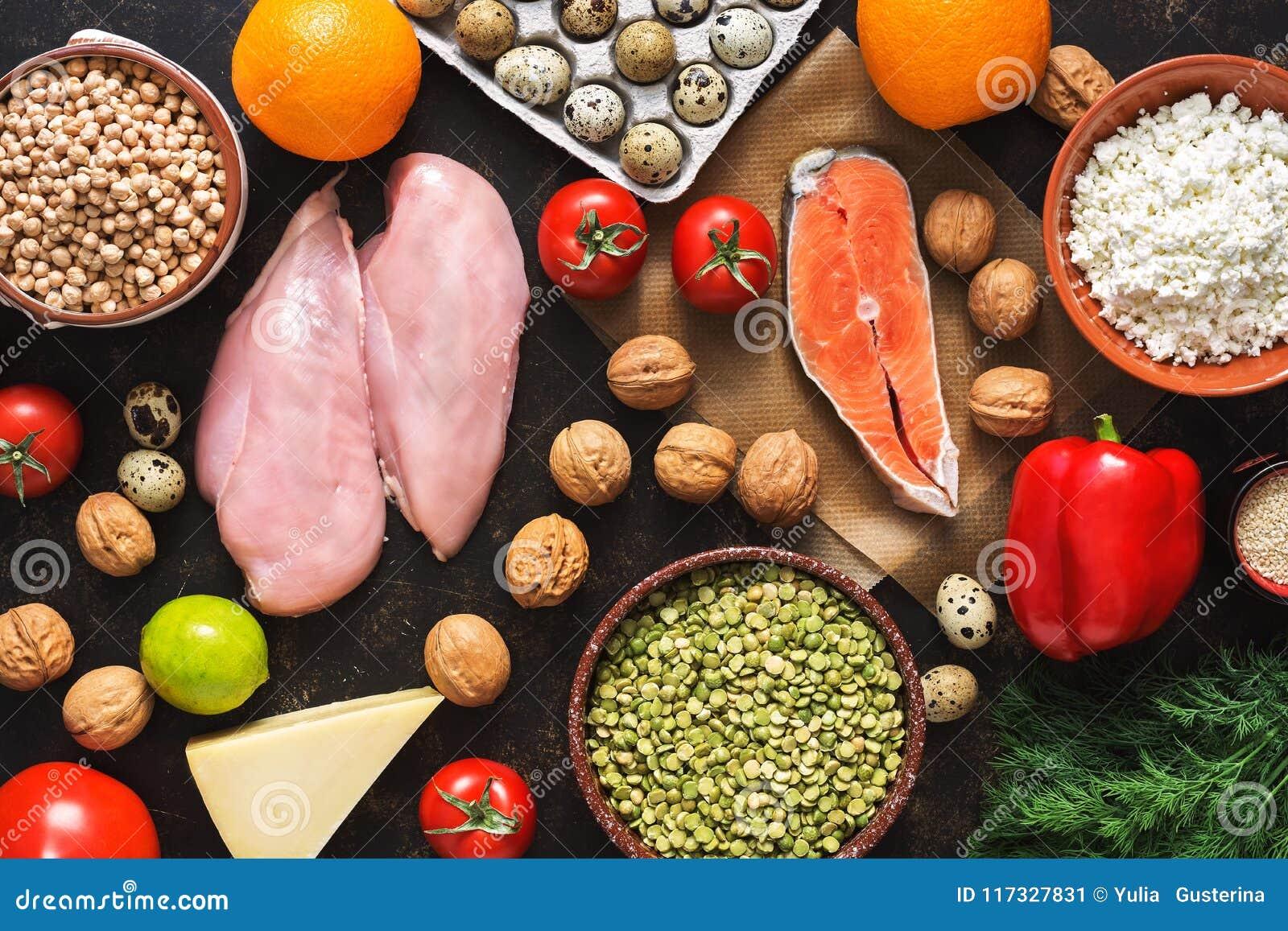 Prodotti dietetici equilibrati Il concetto di cibo sano Fondo di un pasto sano Frutti, verdure, salmone, raccordo del pollo