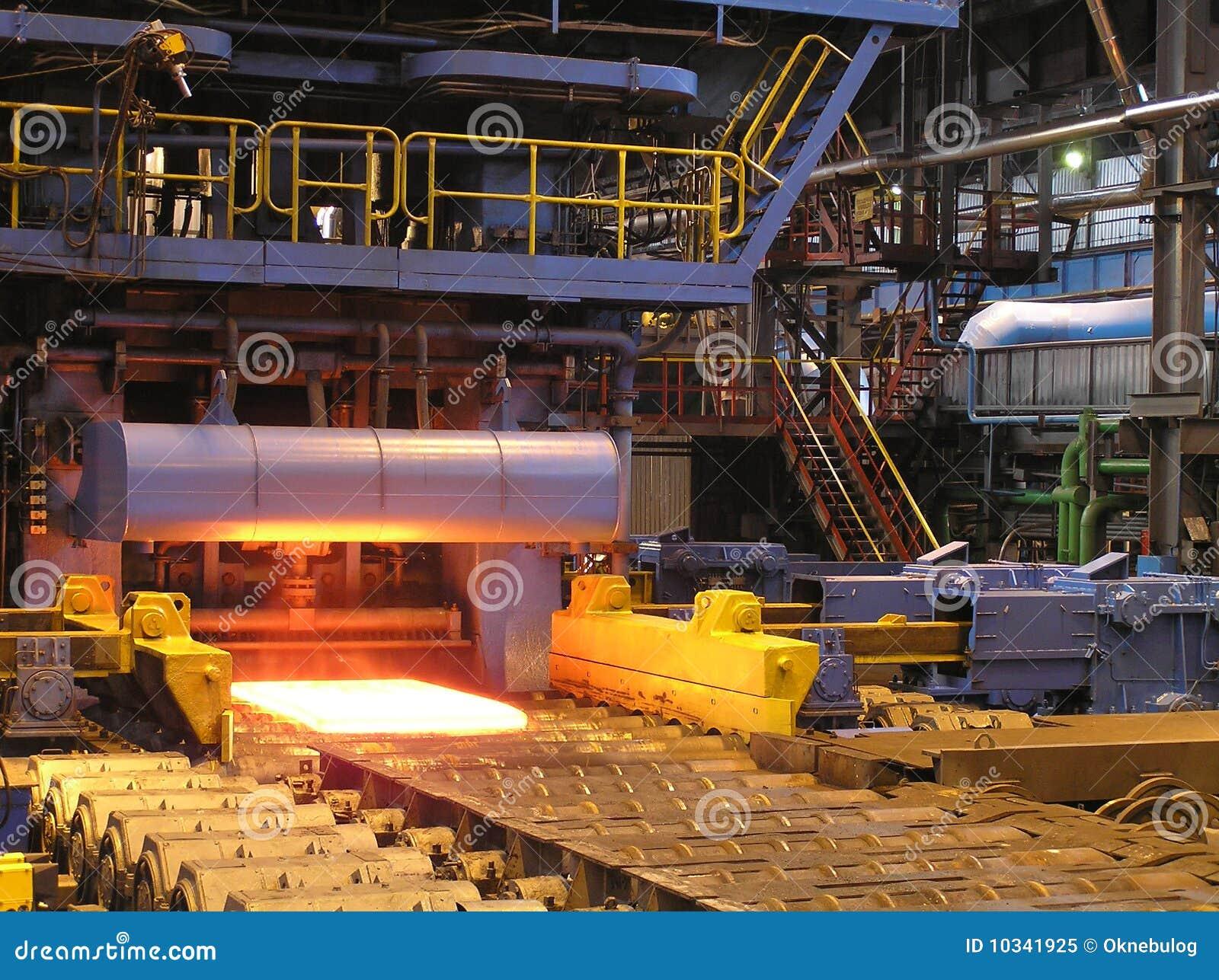 Produção da chapa de aço.