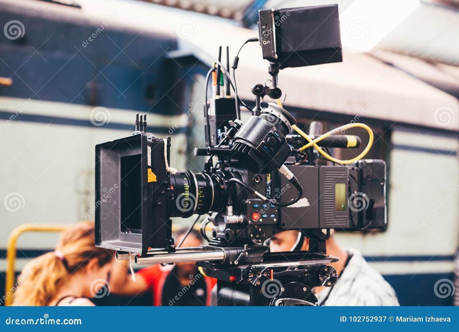 A produção do película e do vídeo é uma câmera profissional,