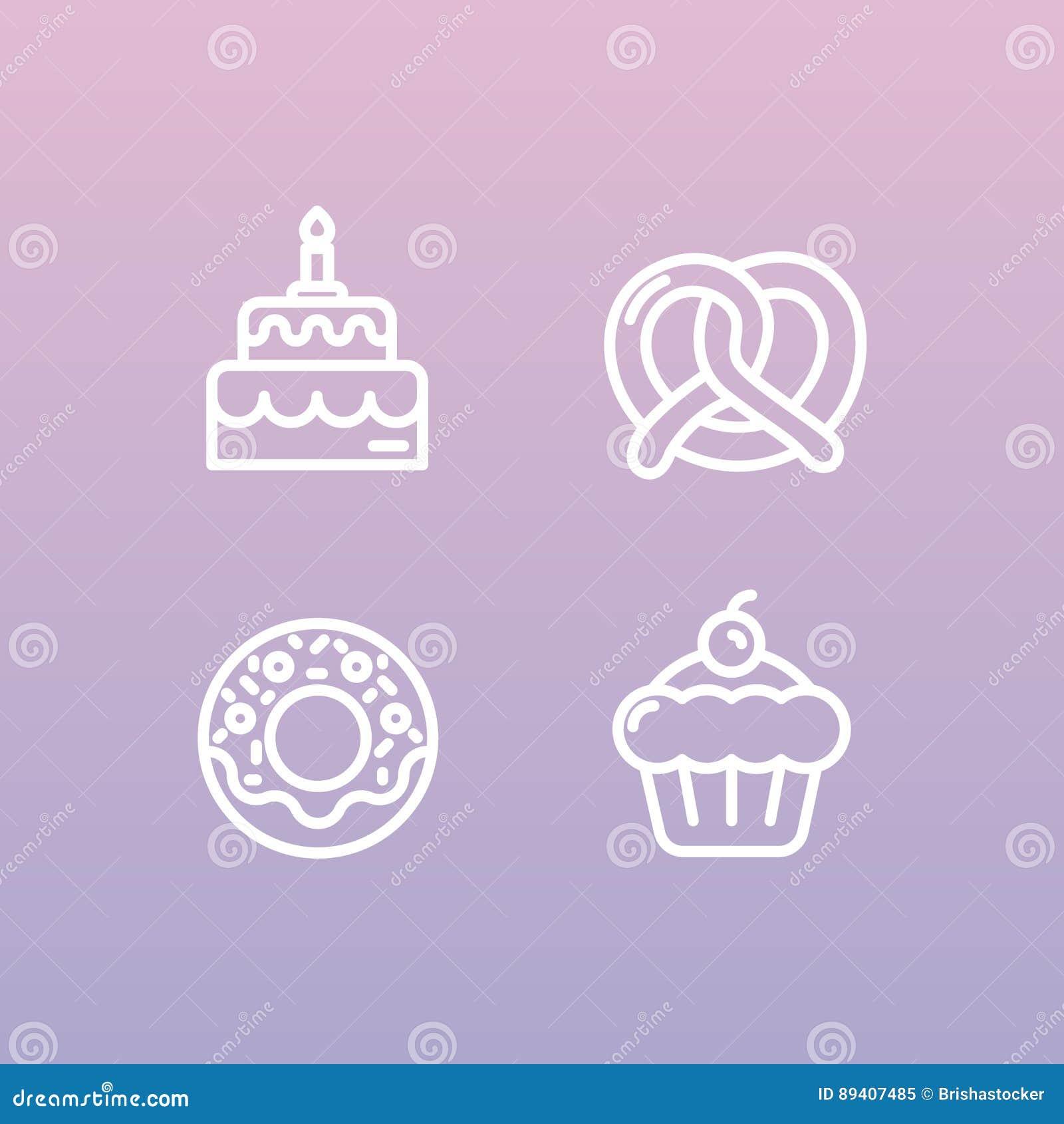 Produção doce da loja da padaria, bolos feitos sob encomenda, fábrica do pão, pretzel e waffle, filhós, cookie