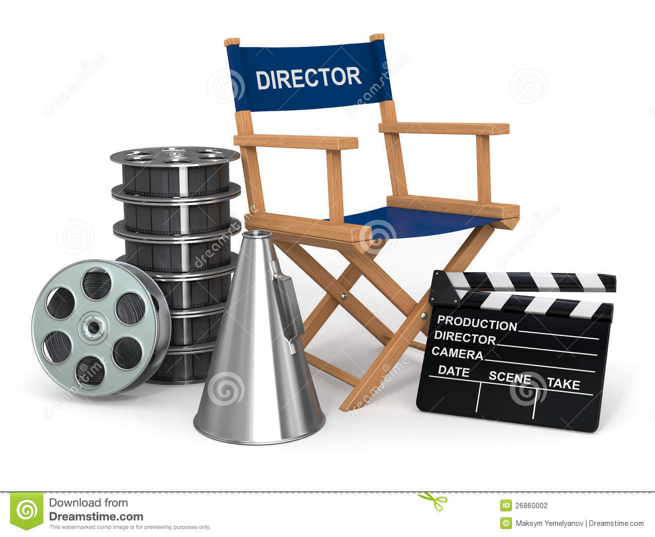 Producer Chair, Clapperboard And Film Reelsl. Stock Photography ...