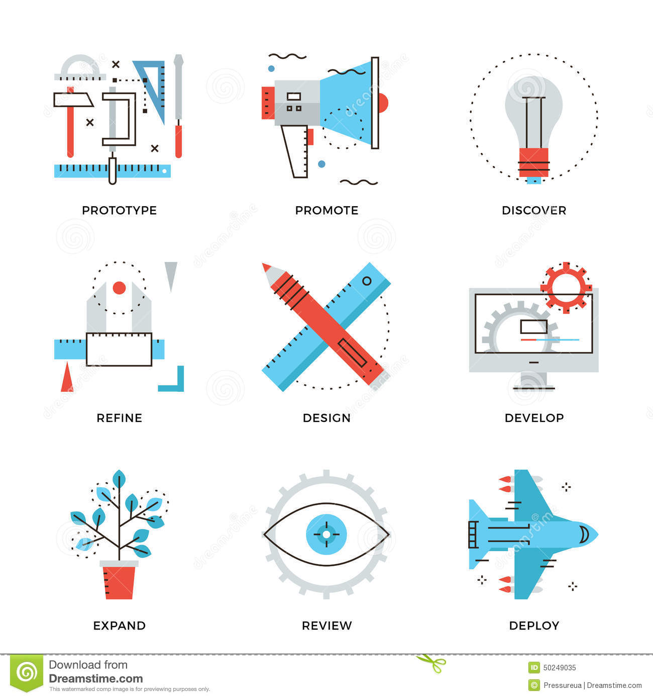 Product design services line icons set stock vector for Product design marketing