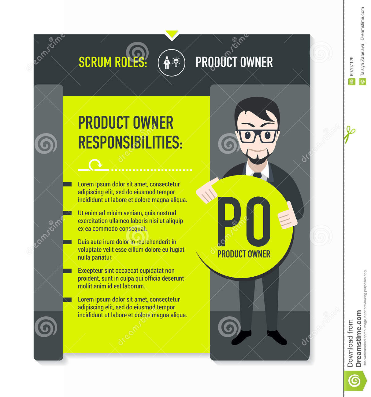 product owner responsibilities stock vector