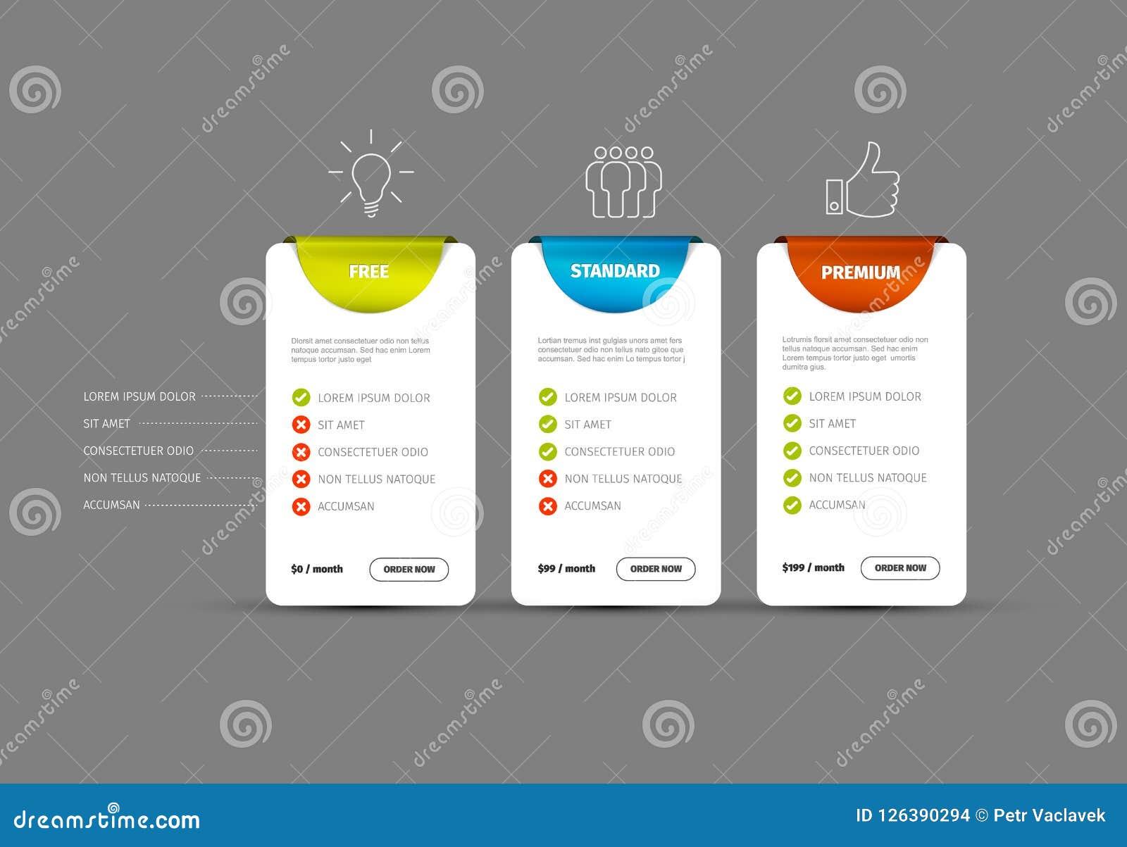 product service price comparison table stock vector illustration