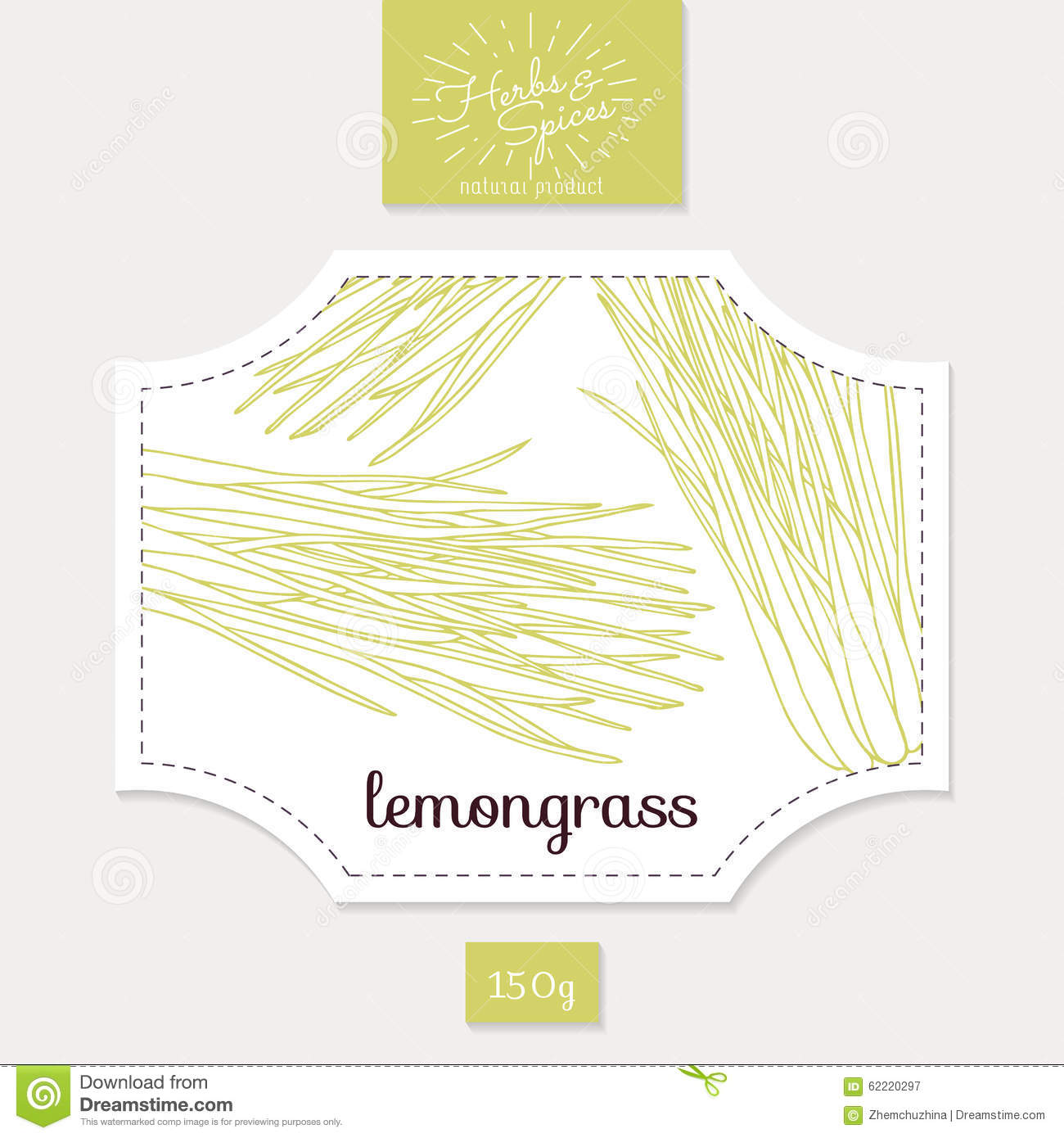 Product Sticker With Hand Drawn Lemongrass Leaves Stock Vector