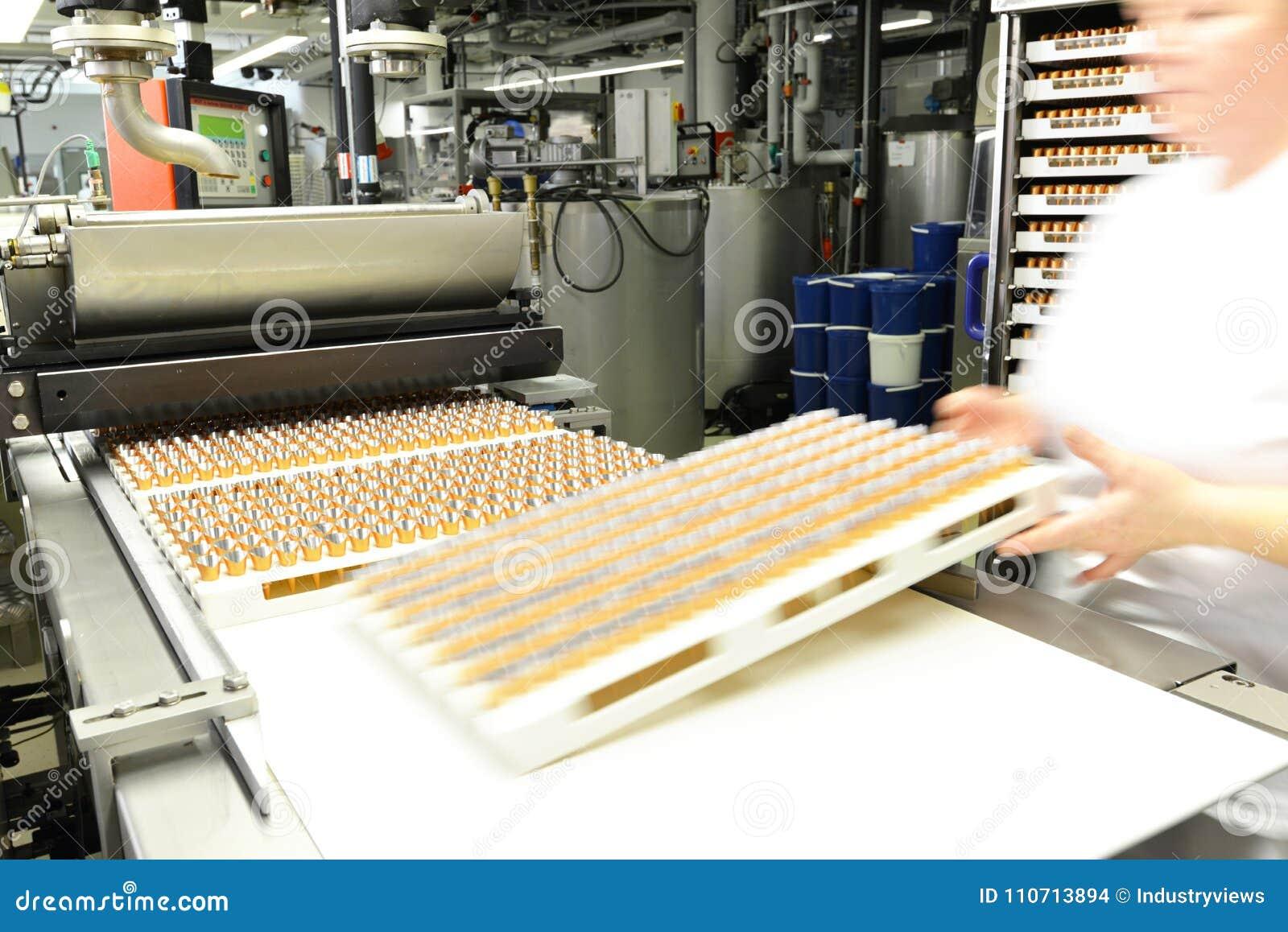 Productie van pralines in een fabriek voor de voedselindustrie