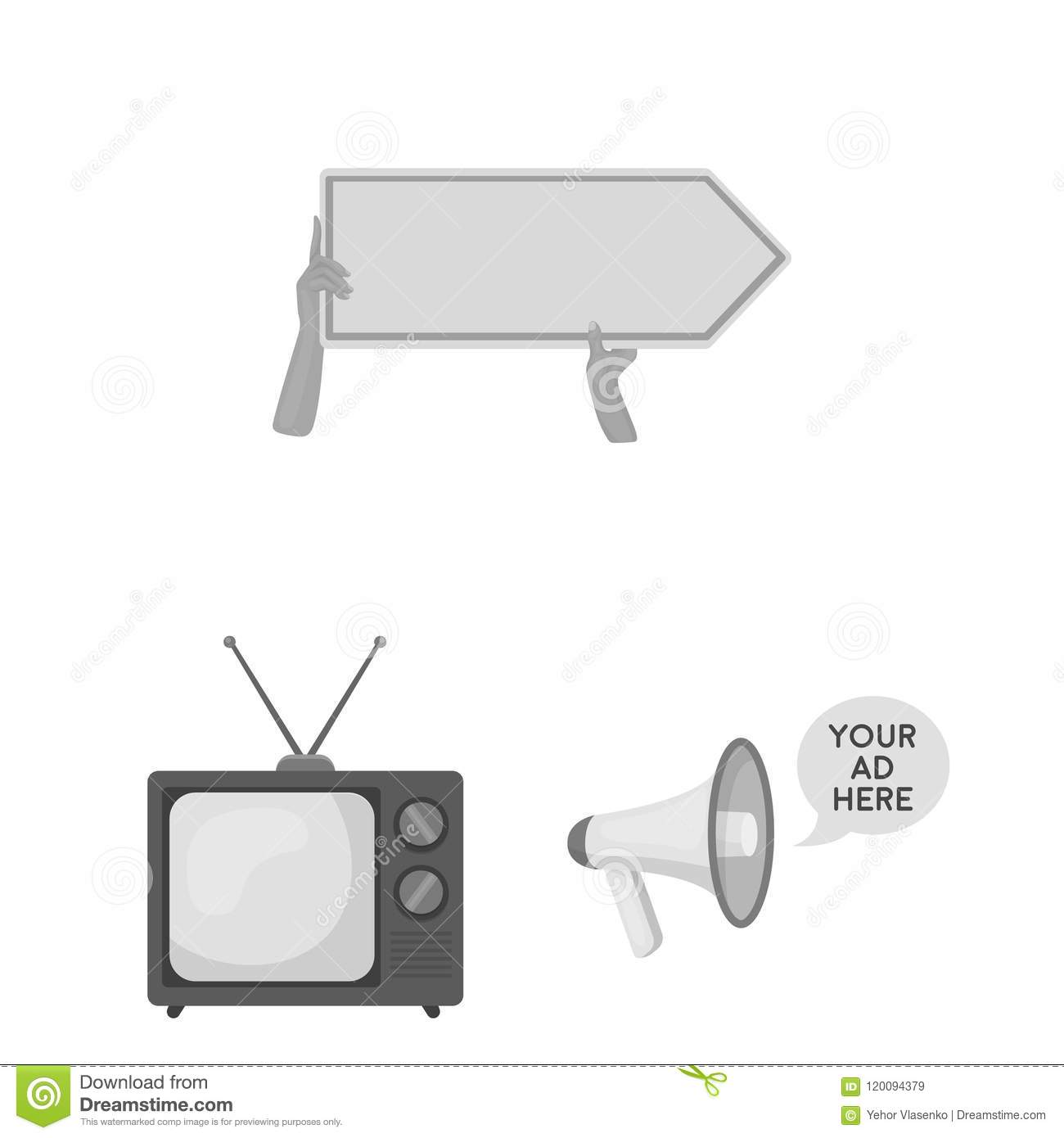 Production Of Advertising Monochrome Icons In Set Collection For