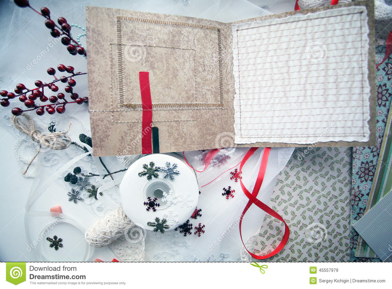 Production of Christmas cards scrapbooking