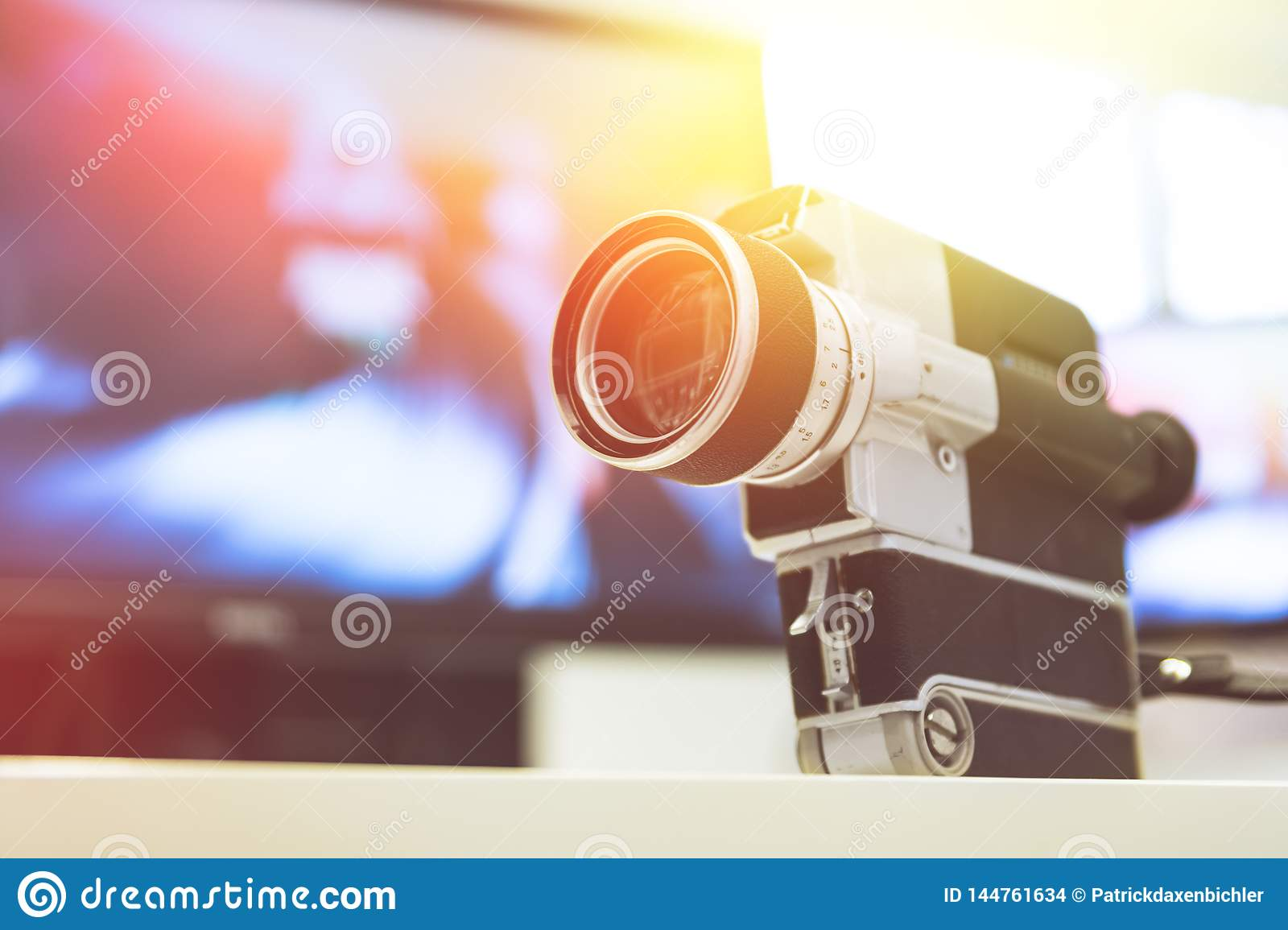 Movie Production Vintage Old Movie Camera On A Desk Cutting Room In The Background Sunshine Photo Stock Image Du Room Background 144761634