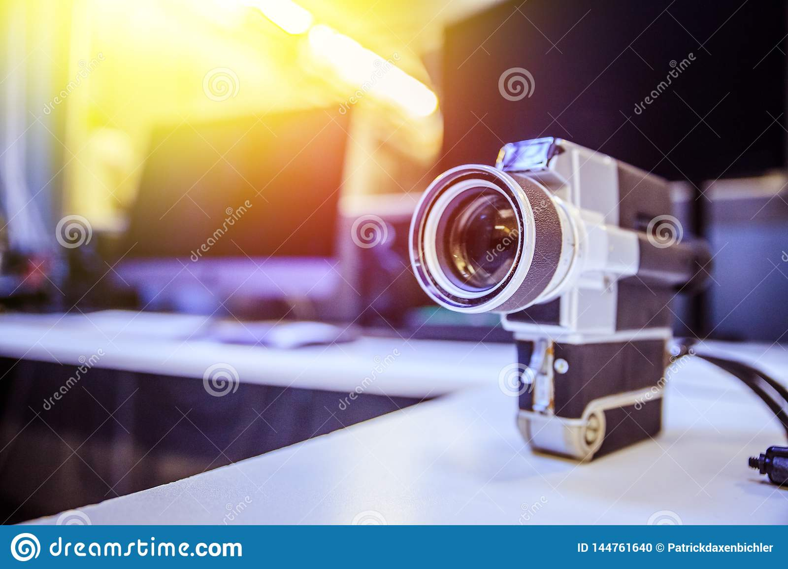 Movie Production Vintage Old Movie Camera On A Desk Cutting Room In The Background Sunshine Photo Stock Image Du Room Production 144761640