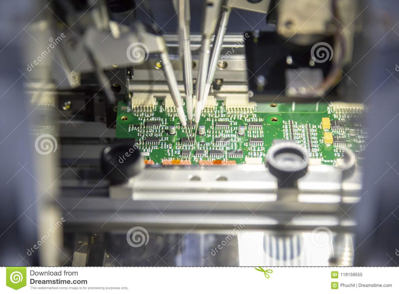 The production line of electronic board with microchip