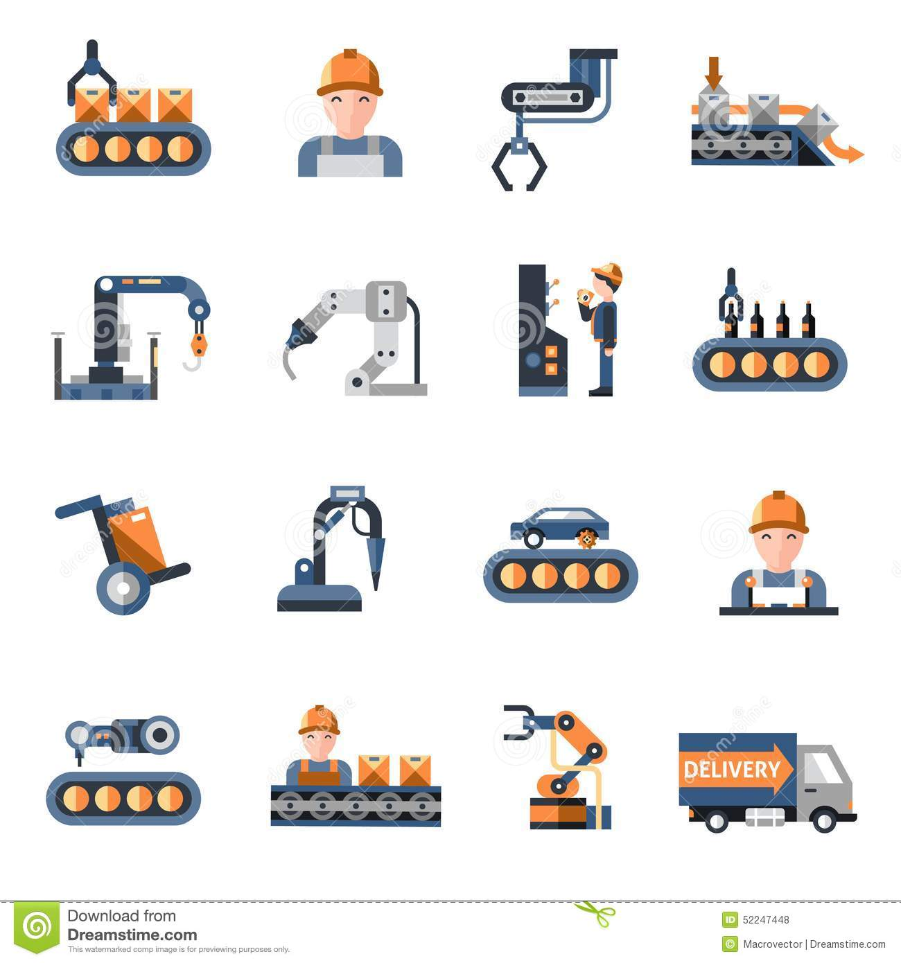 Production Line Icons Stock Vector Illustration Of