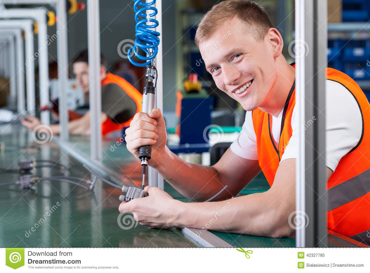 Assembly Line Worker : Production line workers stock image of employee