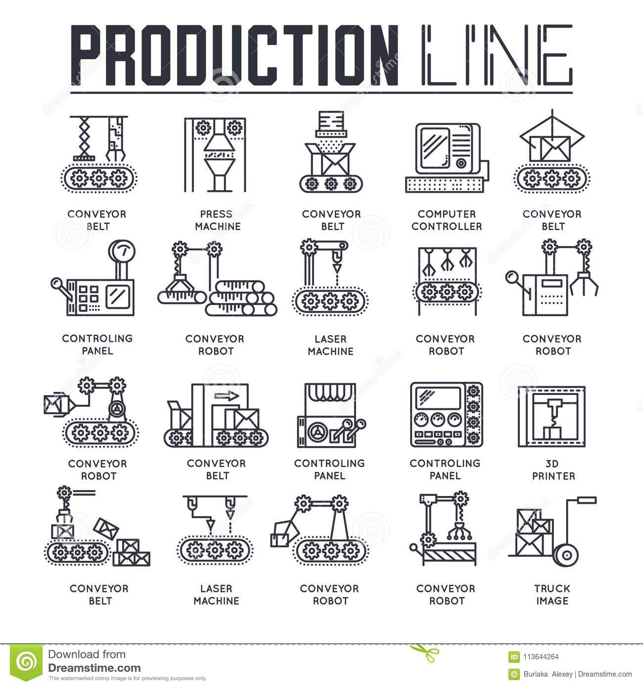 production outline icons collection set  industry linear
