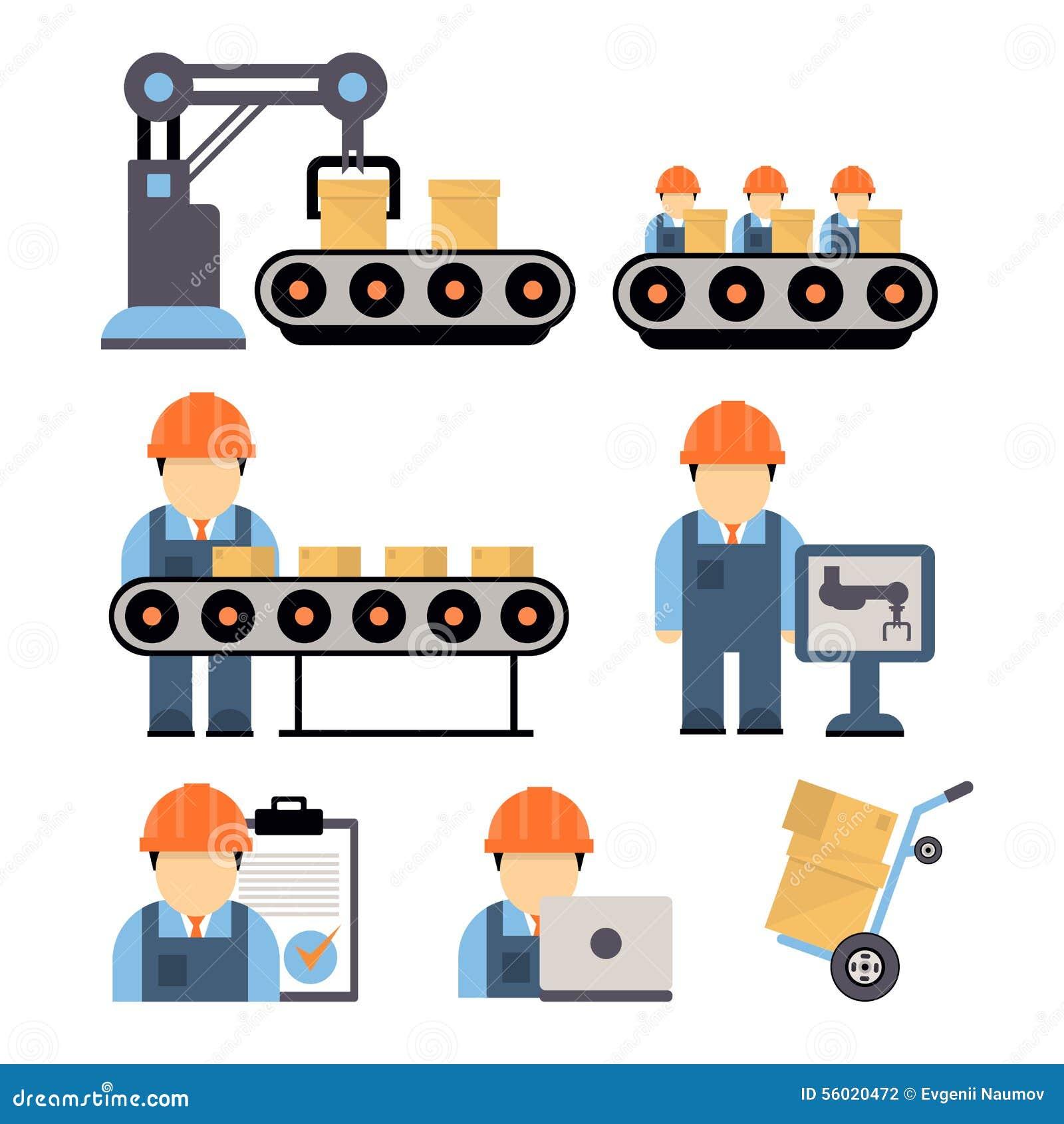 Floor Plan Furniture Production Process Vector Illustration Stock Vector