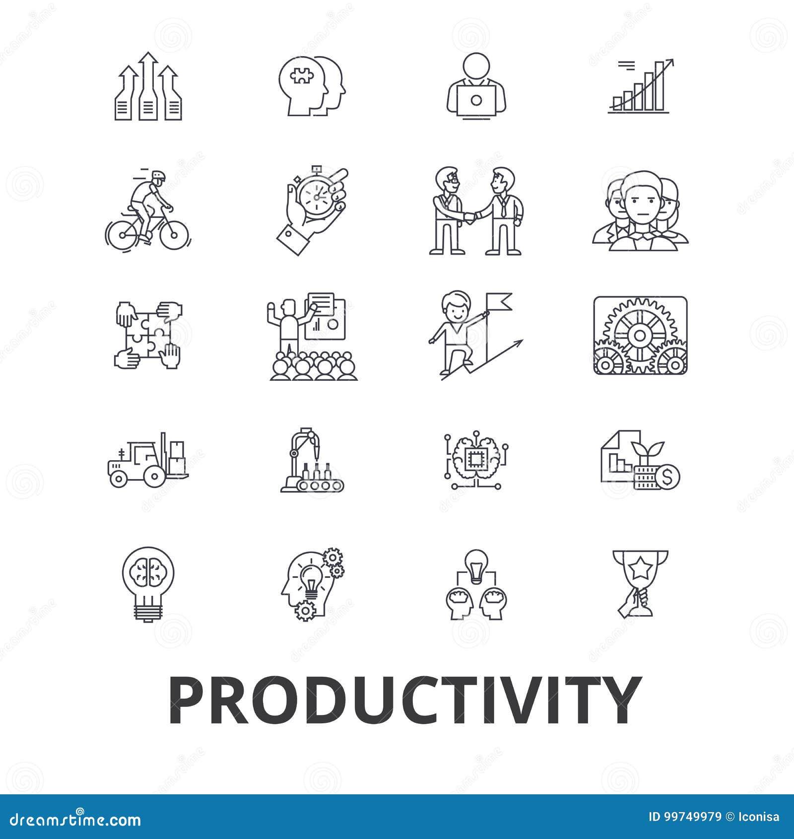 Productividad, eficacia, aumento, innovación, negocio, crecimiento, línea iconos del beneficio Movimientos Editable Diseño plano