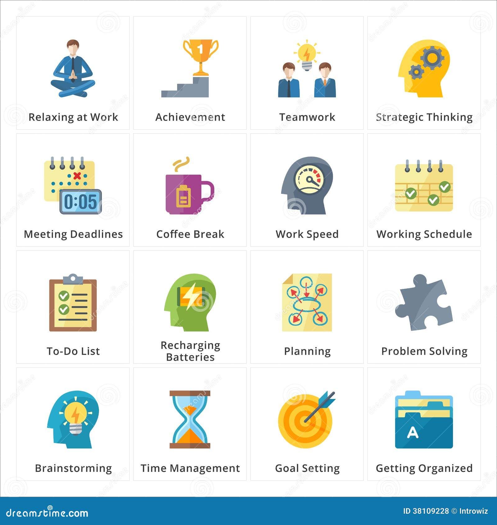 Productividad plana en los iconos del trabajo