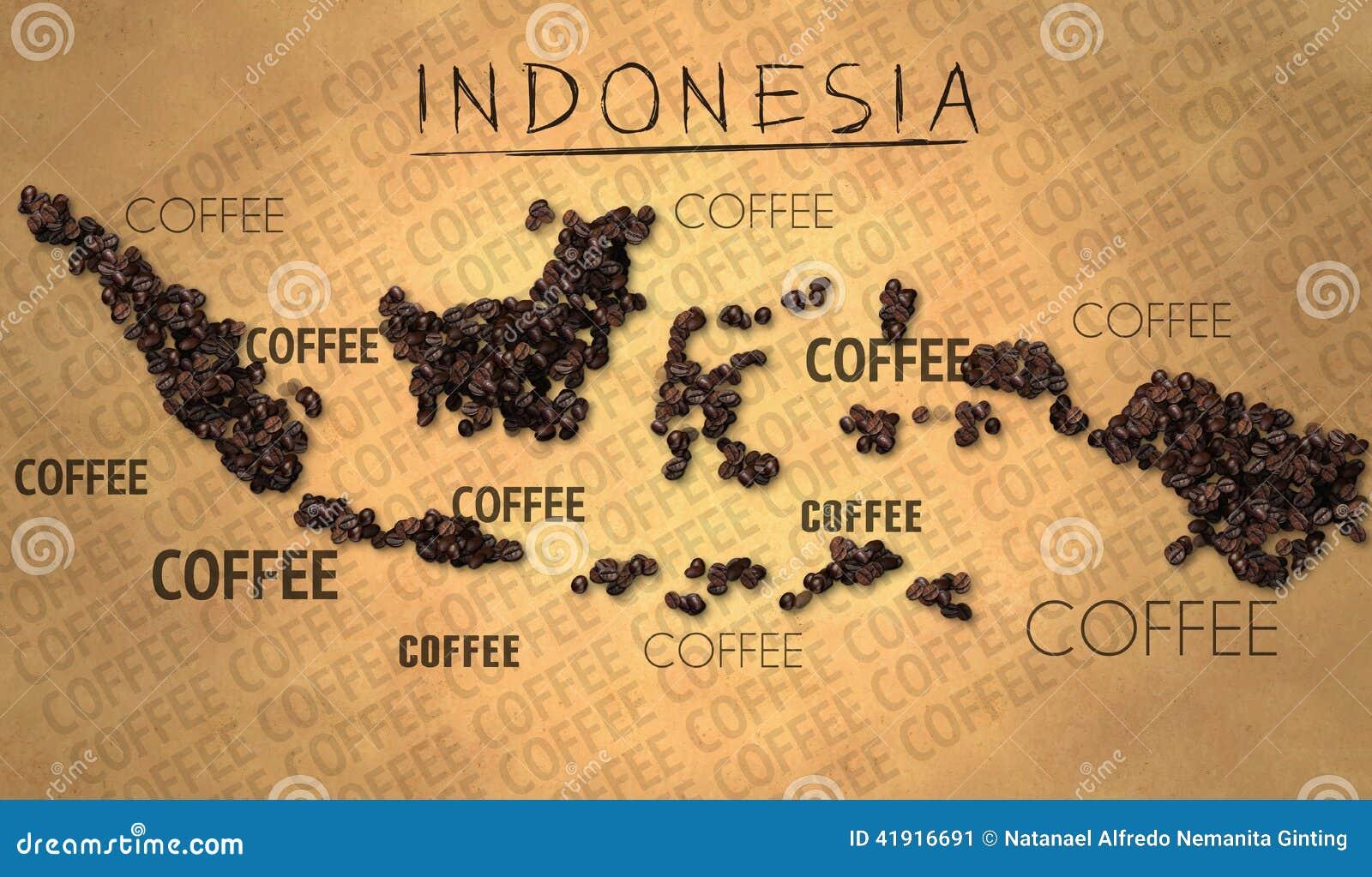 Productor del grano de café del mapa de Indonesia en el papel viejo