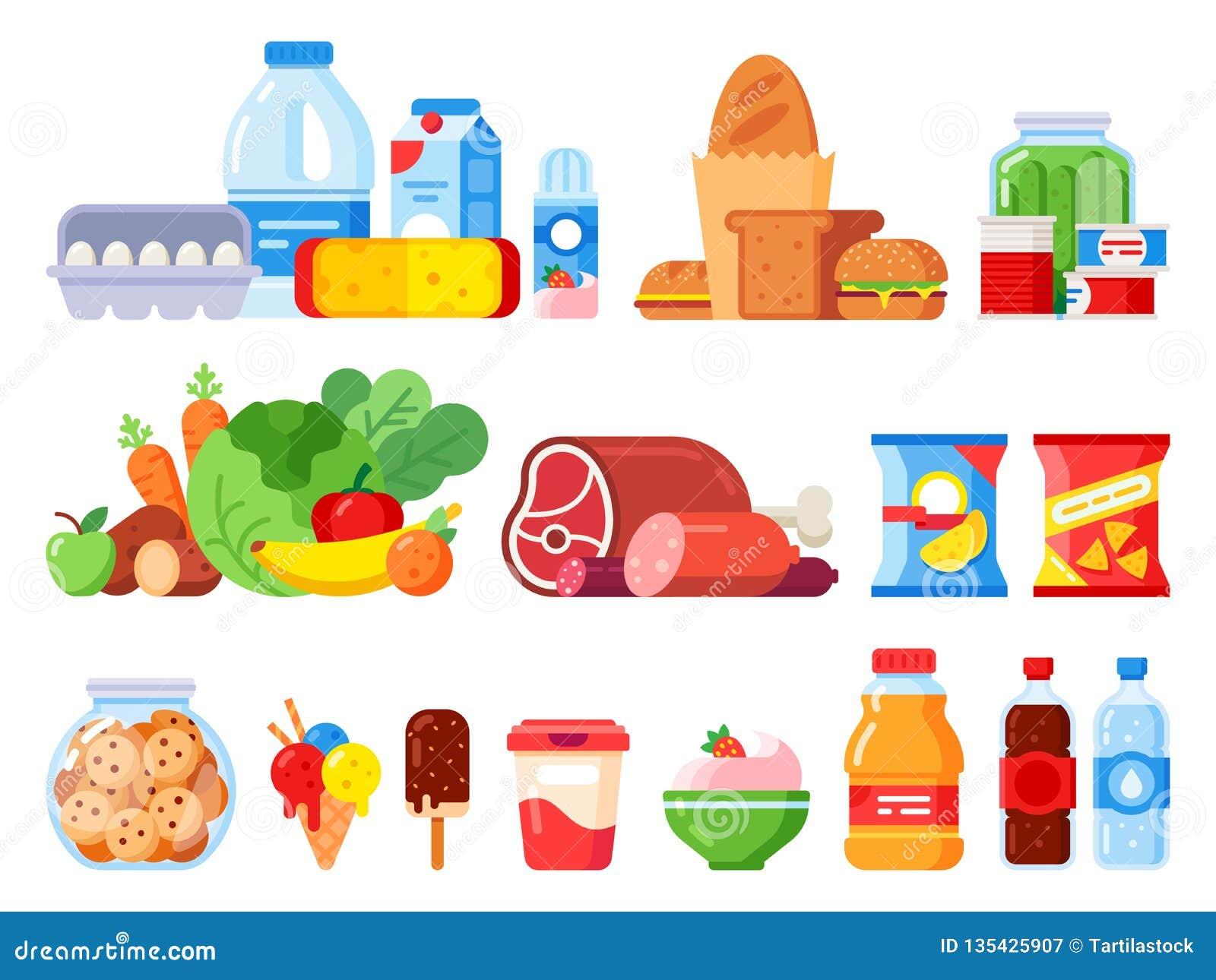 Productos alimenticios Embalado cocinando el producto, mercancías del supermercado y la comida enlatada El tarro de galletas, la