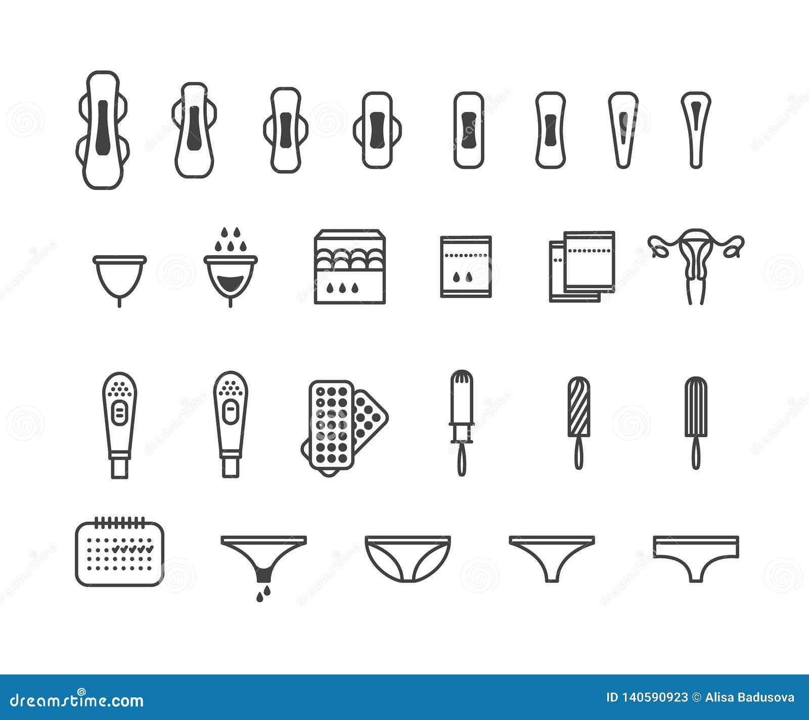 Productos de higiene femeninos - cojín sanitario, pantyliner, tapón, iconos menstruales de la taza