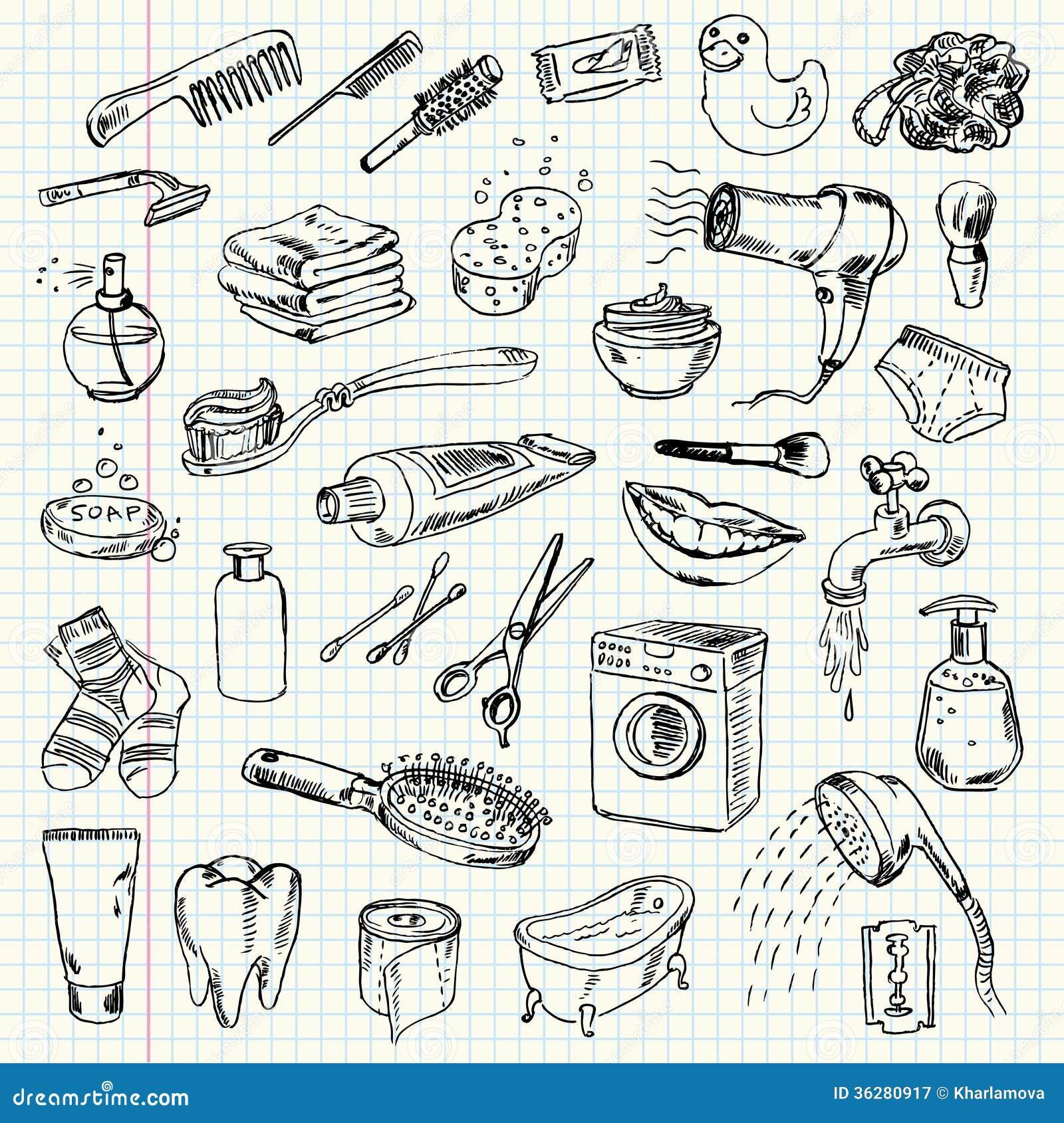 Productos De La Higiene Y De Limpieza Del Dibujo A Pulso Ilustración
