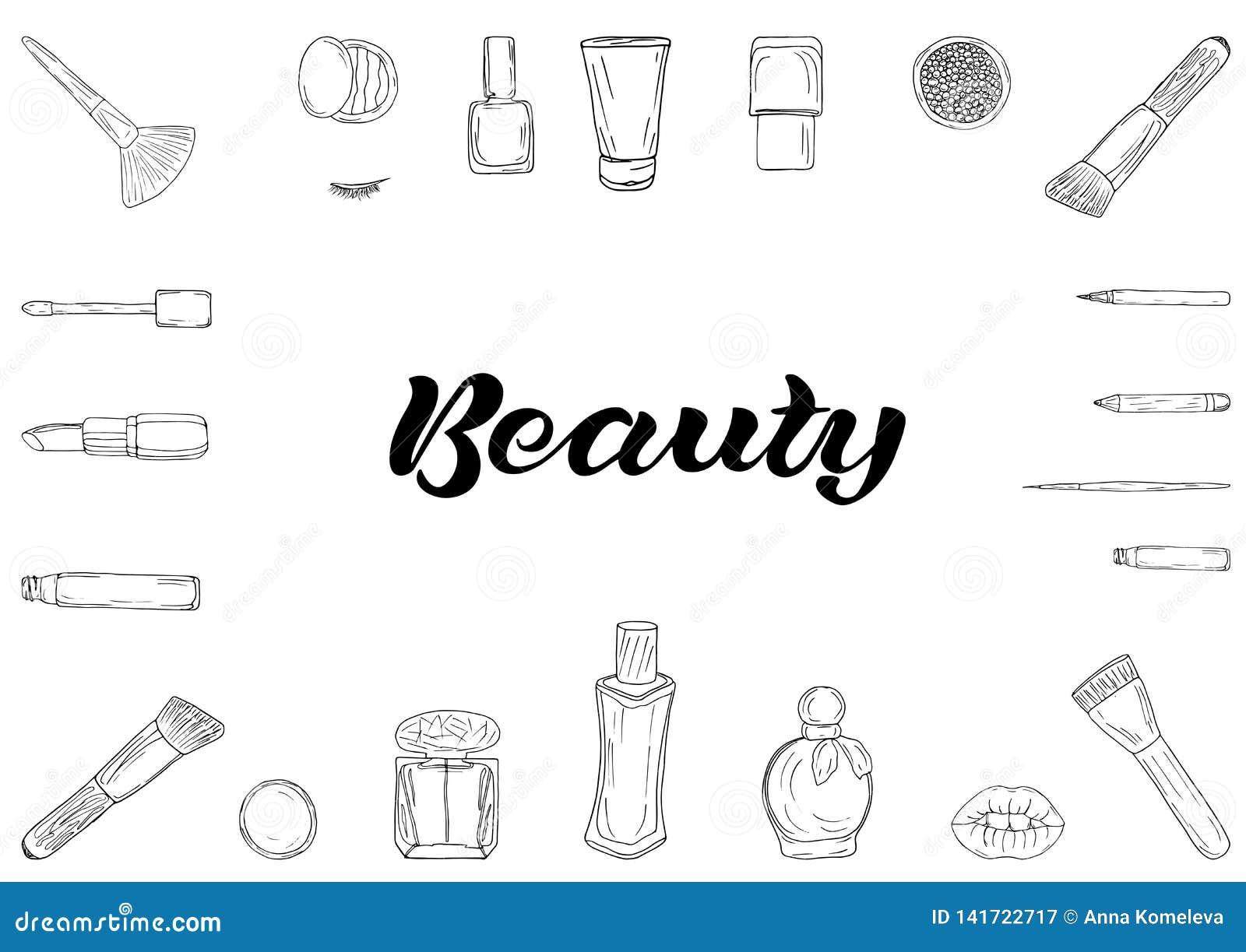 Productos de los cosméticos, bandera del maquillaje de la moda