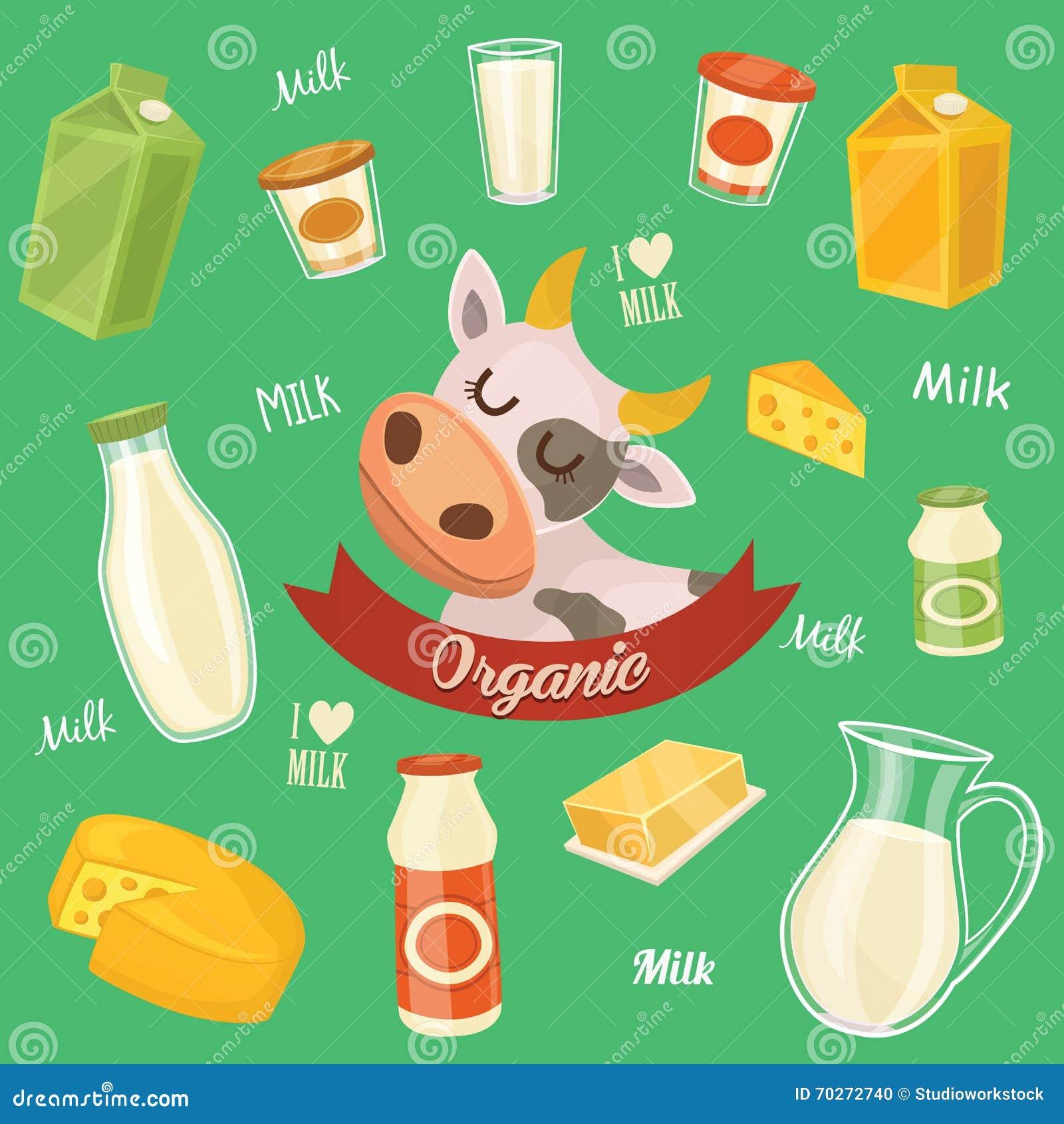 Productos Lácteos Aislados Ejemplo A Memoria De Imagen Stock De Ilustración Ilustración De Mantequilla Producto 70272740