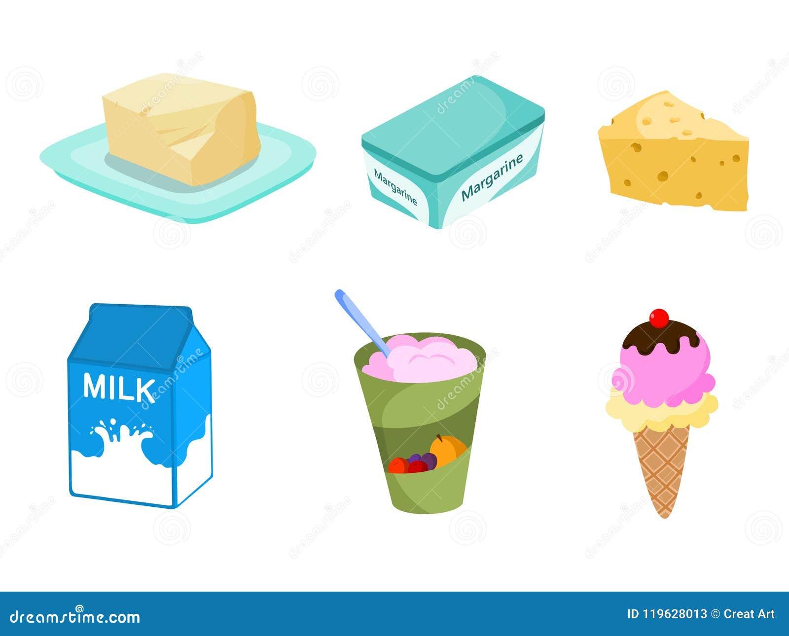 Productos Lácteos Ejemplo Del Vector De Los Productos Lácteos Ilustración Del Vector Ilustración De Coma Productos 119628013