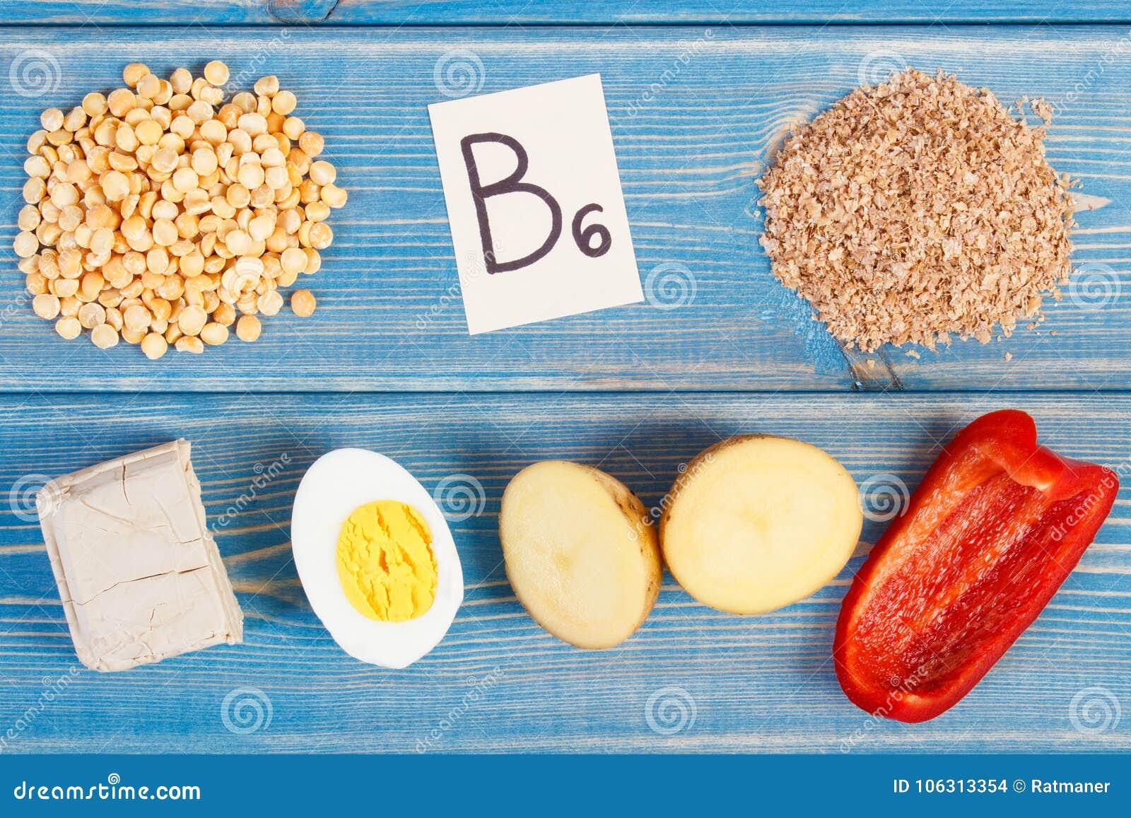 Productos que contienen la vitamina B6 y la fibra dietética, nutrición sana