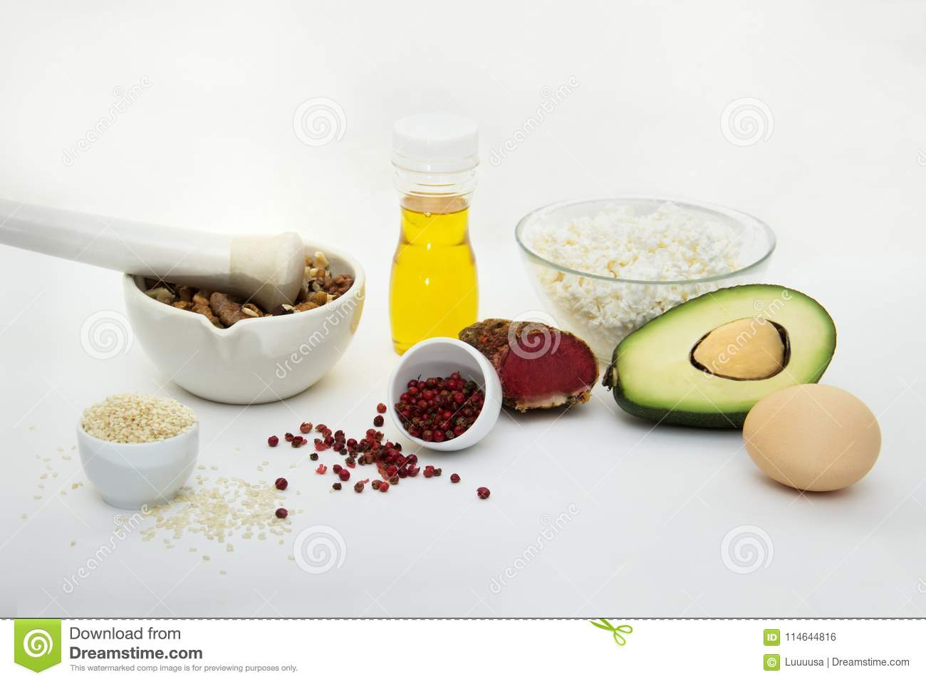 Products that can be eaten with a ketogenic diet., low carb, high good fat. Concept keto diet for health and weight loss.