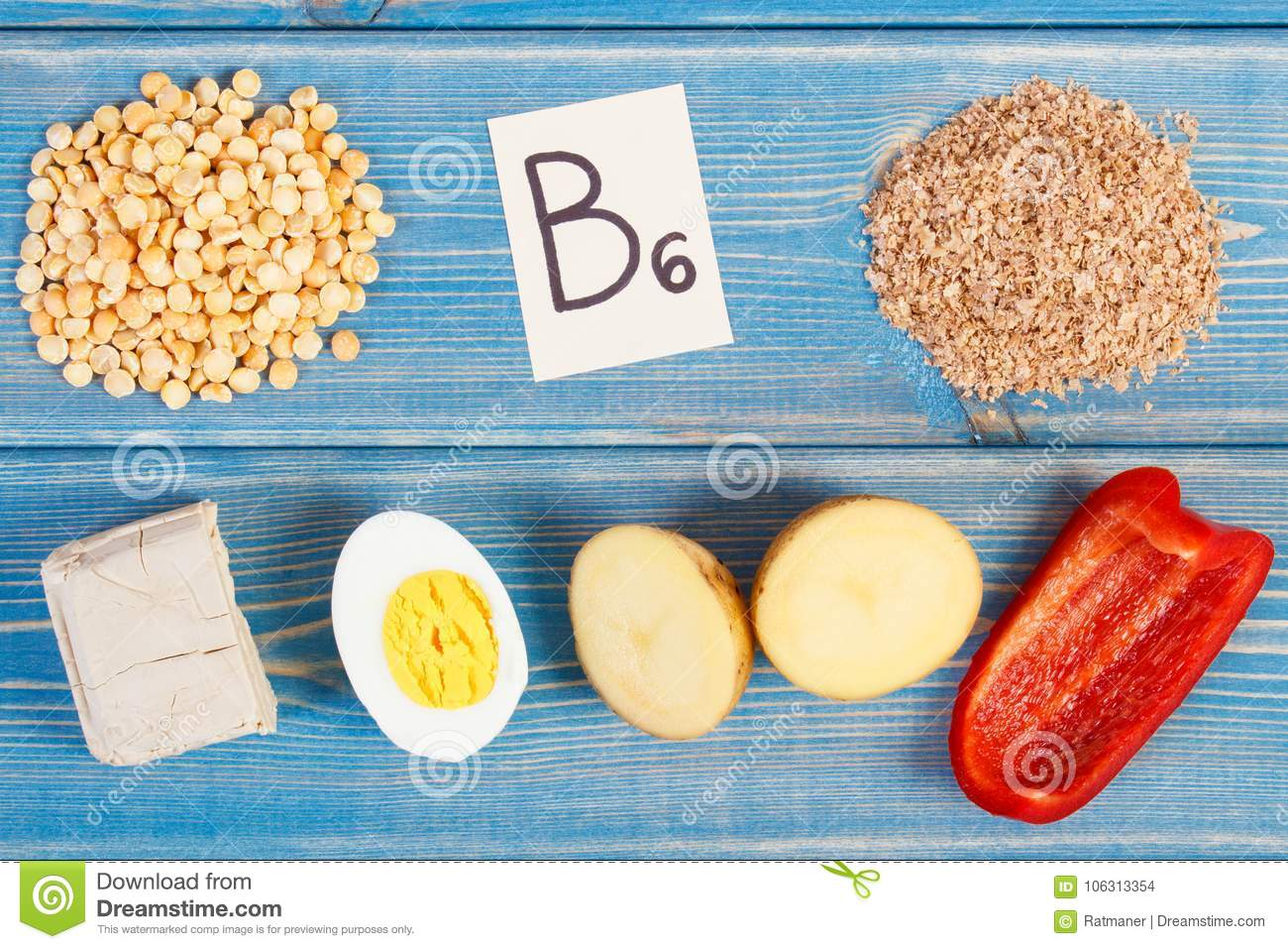 Products containing vitamin B6 and dietary fiber, healthy nutrition