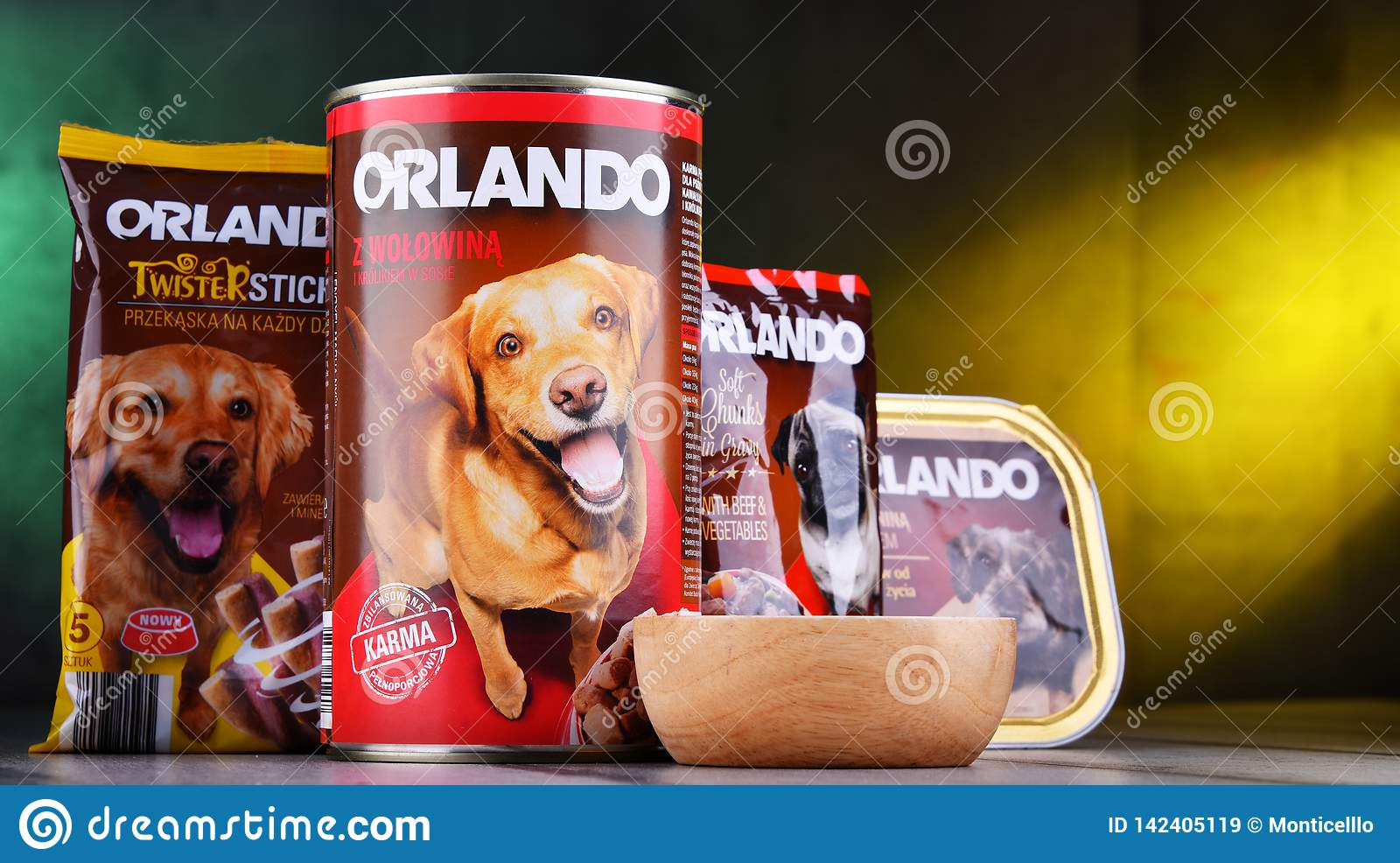 Products Of Orlando Brand Dog Food Editorial Stock Image