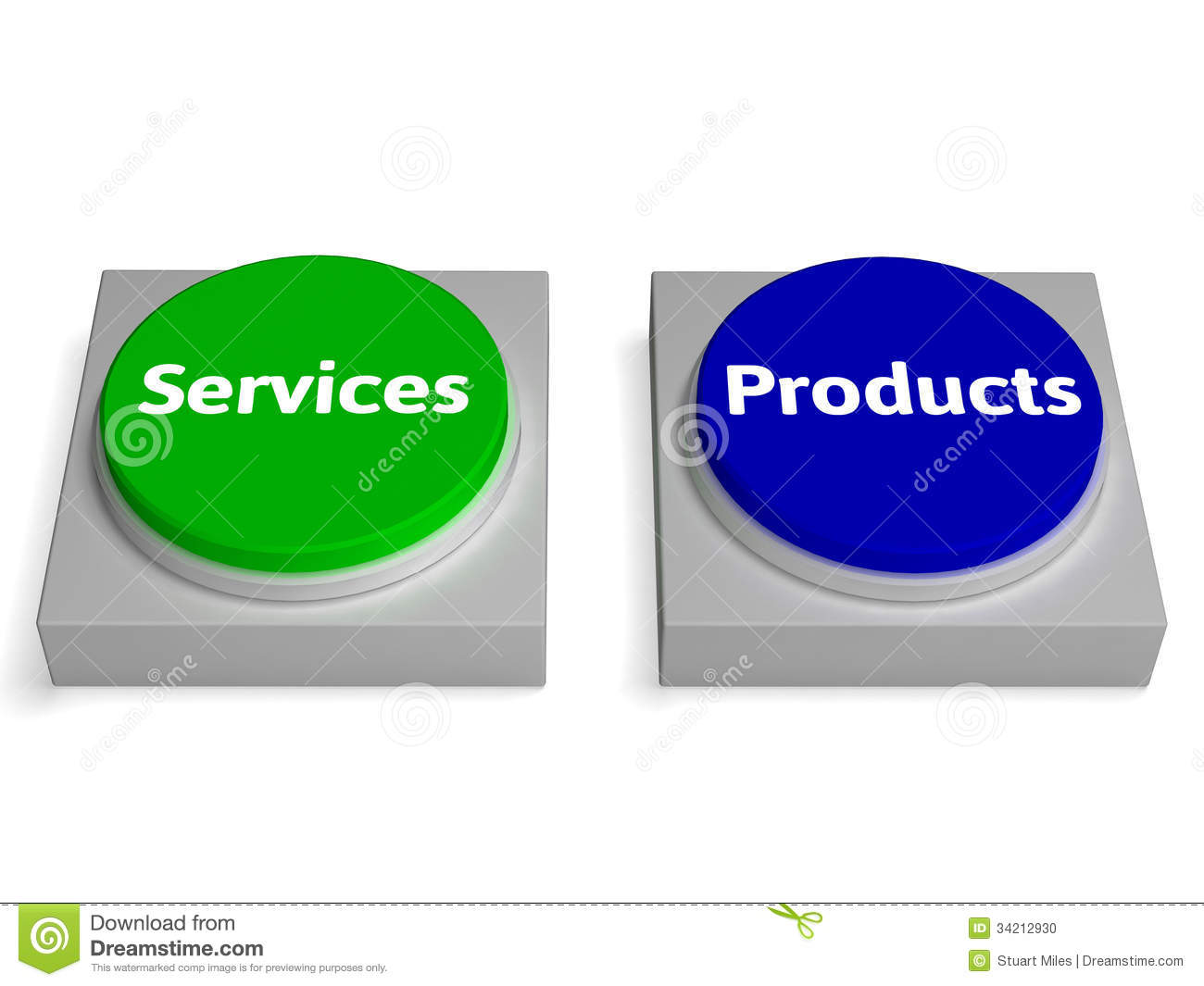 As Services Products : Products services buttons shows product or service stock