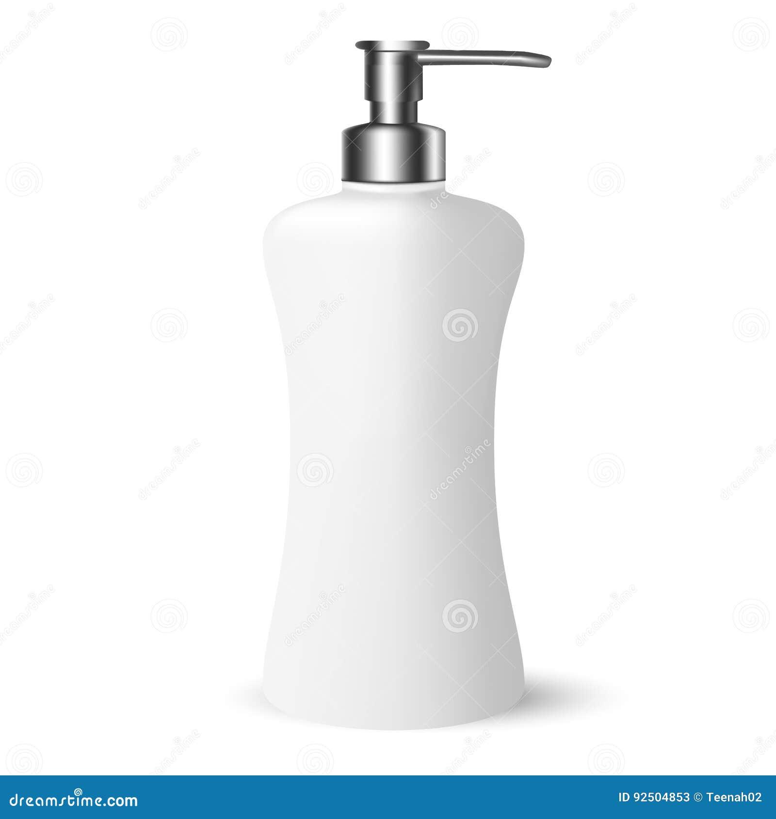 Produits de beauté blancs de Gray Cosmetic Bottle avec le chapeau argenté de pompe