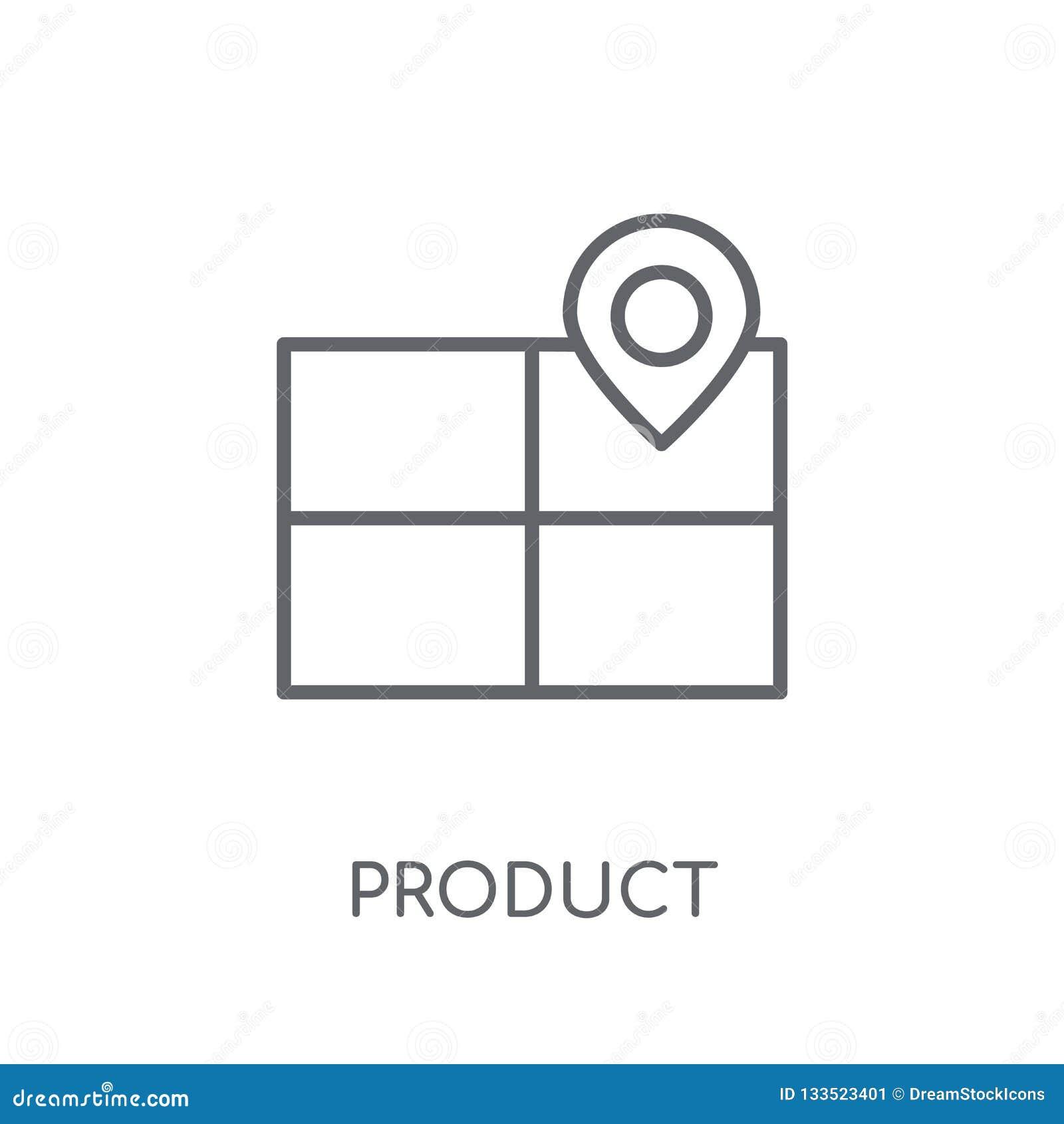 Produkt Ustawia liniową ikonę Nowożytna konturu produktu pozycja