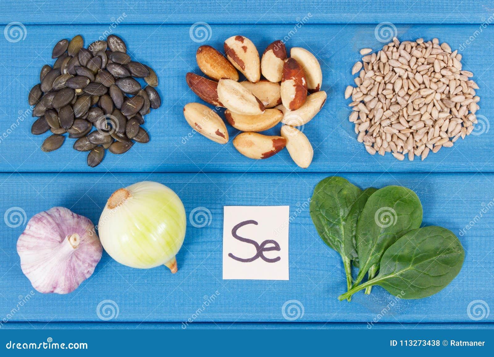 Produkter och ingredienser som innehåller selen och diet-fiber, sund näring