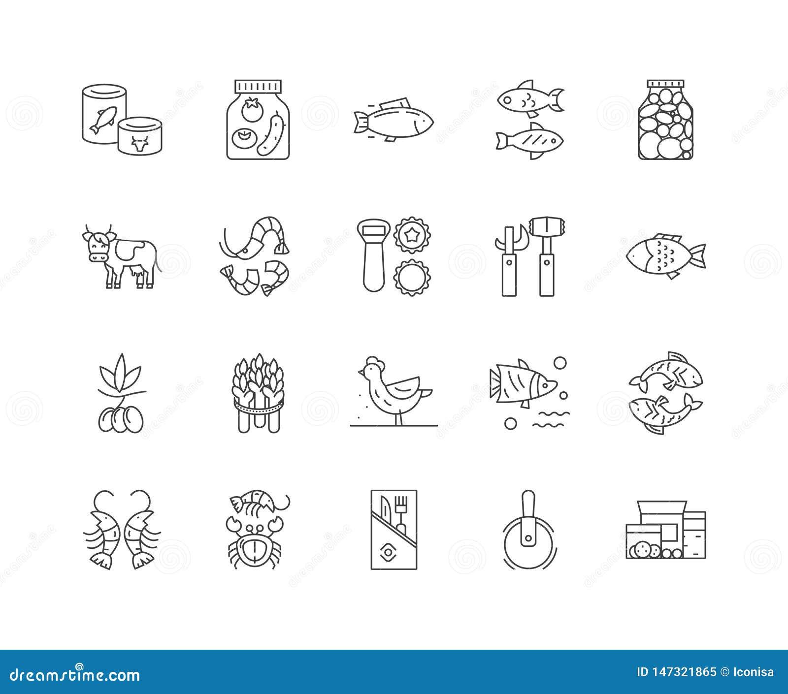 Produktionslinjesymboler på burk, tecken, vektoruppsättning, översiktsillustrationbegrepp