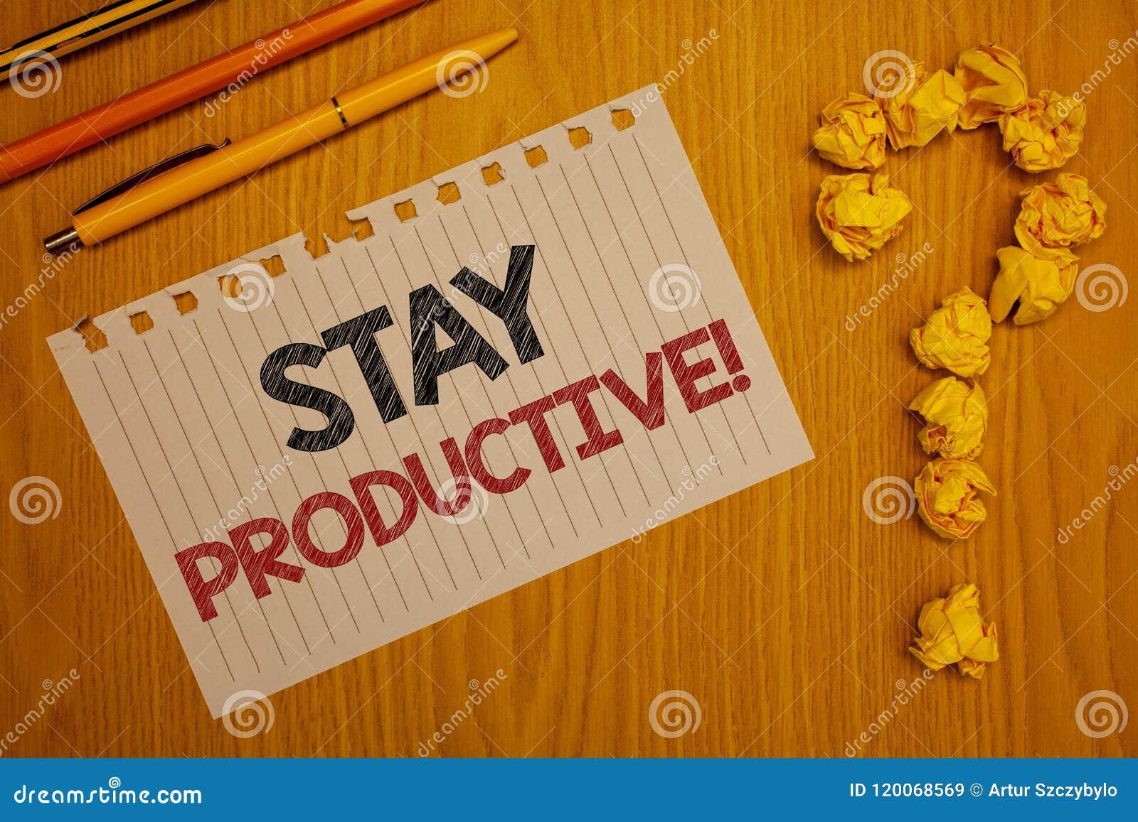 Produktiv Motivational appell för begreppsmässigt stag för handhandstilvisning Ord för produktivitet för koncentration för effekt