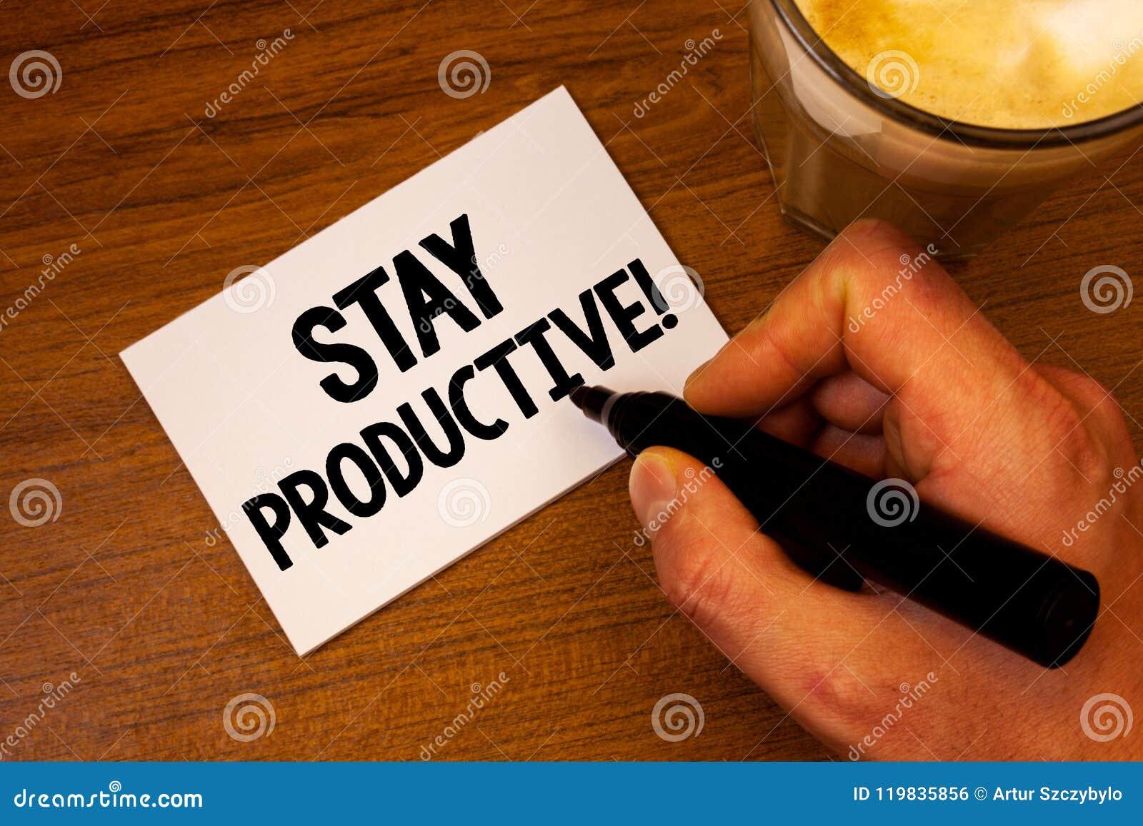 Produktiv Motivational appell för begreppsmässigt stag för handhandstilvisning Text för produktivitet för koncentration för effek
