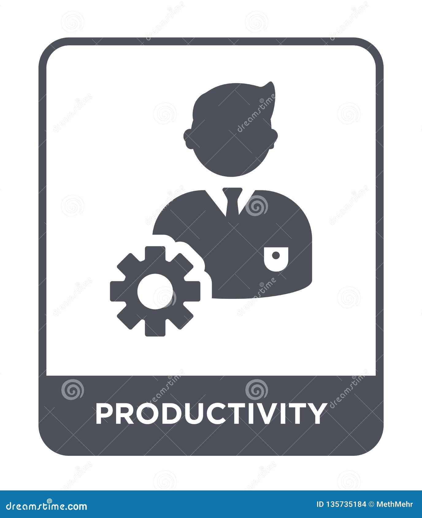 Produktivitetssymbol i moderiktig designstil produktivitetssymbol som isoleras på vit bakgrund enkel produktivitetsvektorsymbol o