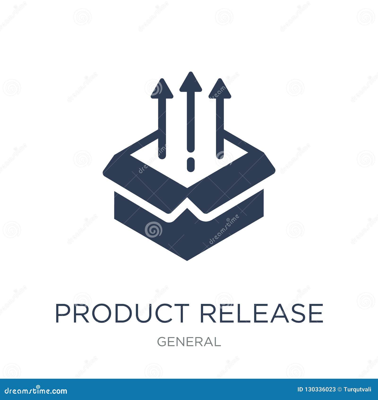 Produktu uwolnienia ikona Modna płaska wektorowego produktu uwolnienia ikona dalej