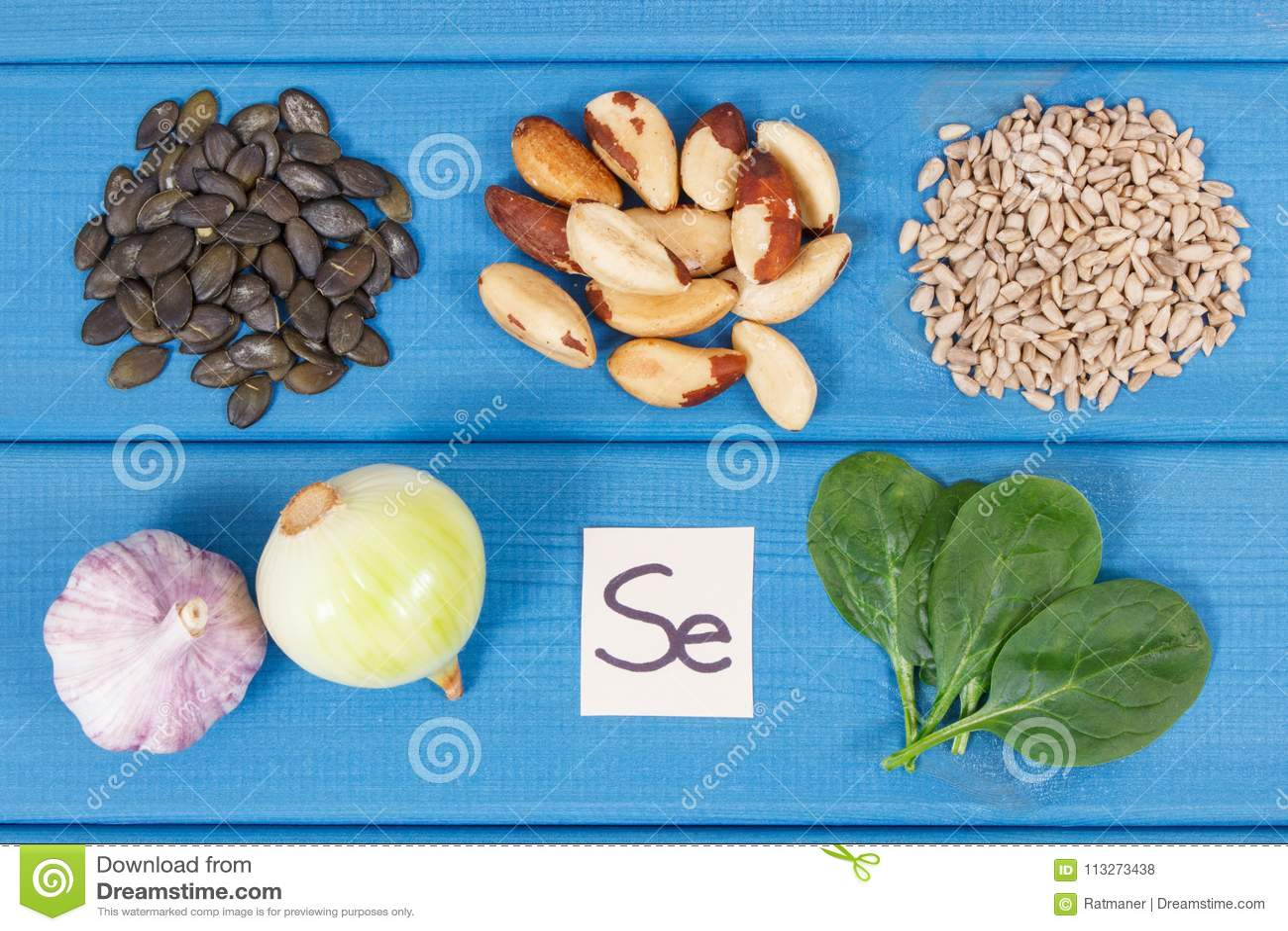 Produkty i składniki zawiera selen i żywienioniowego włókno, zdrowy odżywianie