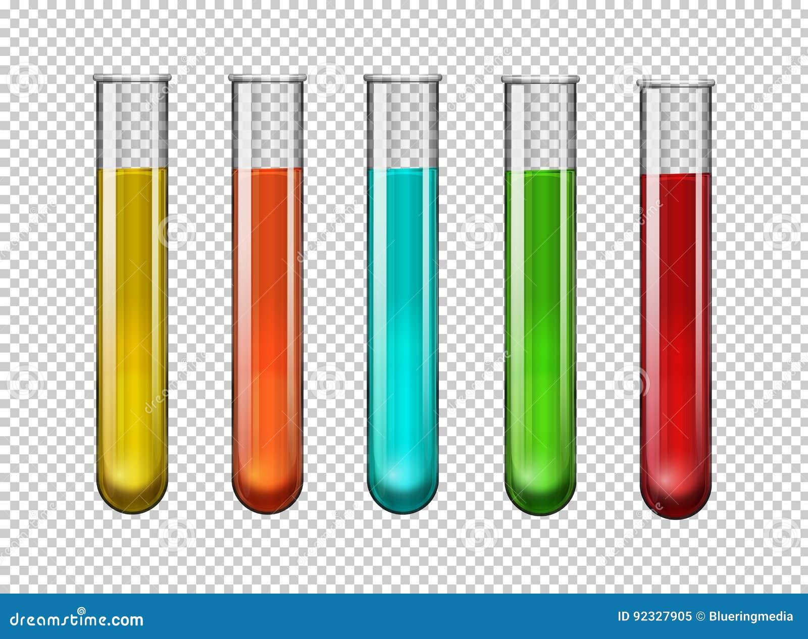 Produto químico colorido em uns tubos de ensaio