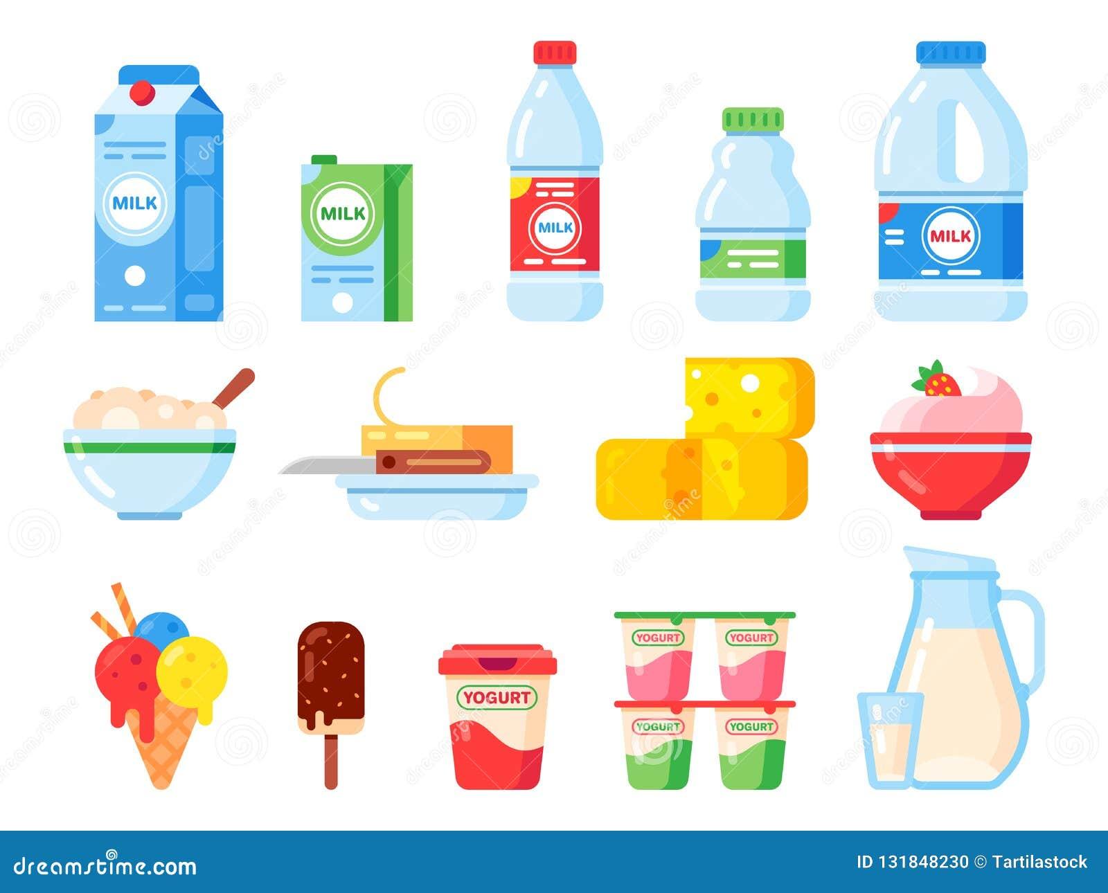 Produtos de leite Iogurte da dieta saudável, gelado e queijo do leite Produtos láteos frescos coleção lisa isolada dos ícones do