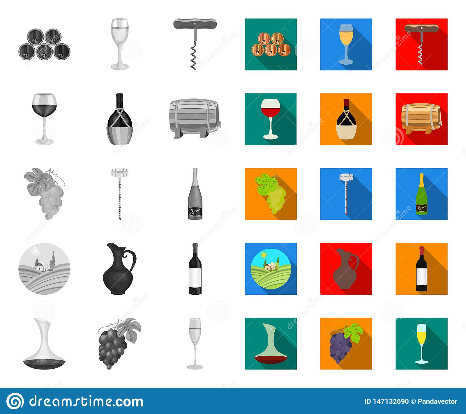 Produtos de vinho mono, ícones lisos em coleção ajustada para o projeto O equipamento e a produ??o de vinho vector a Web conserva