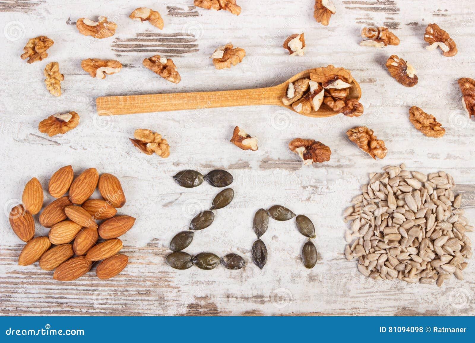 Produtos e ingredientes que contêm o zinco e a fibra dietética, nutrição saudável