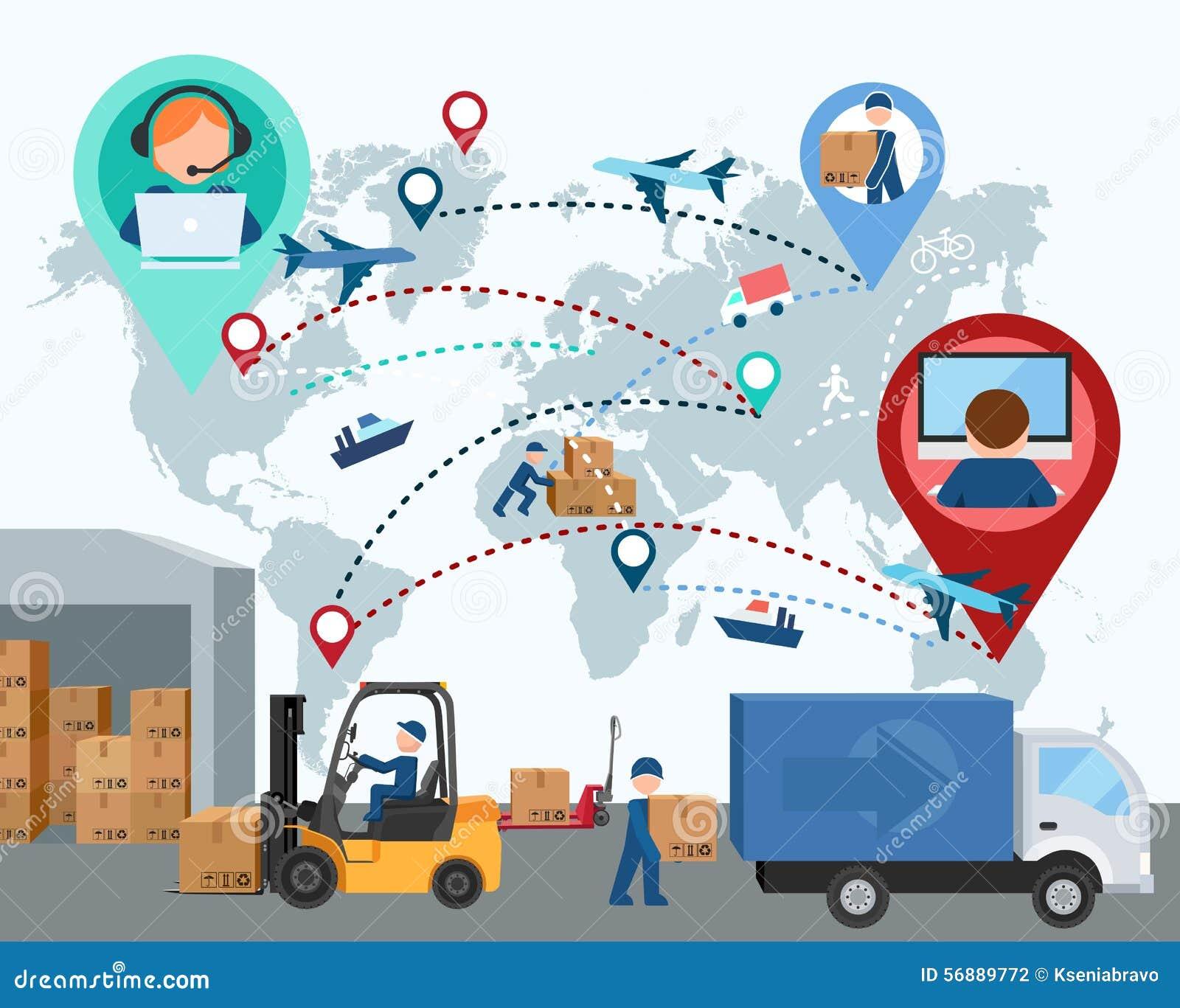 Produzione, trasporto, consegna di carico programma Illus di vettore