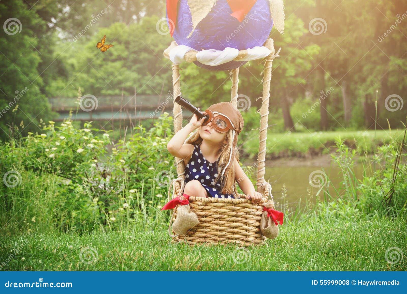 ProefGirl in Hete Luchtballon die beweren te reizen