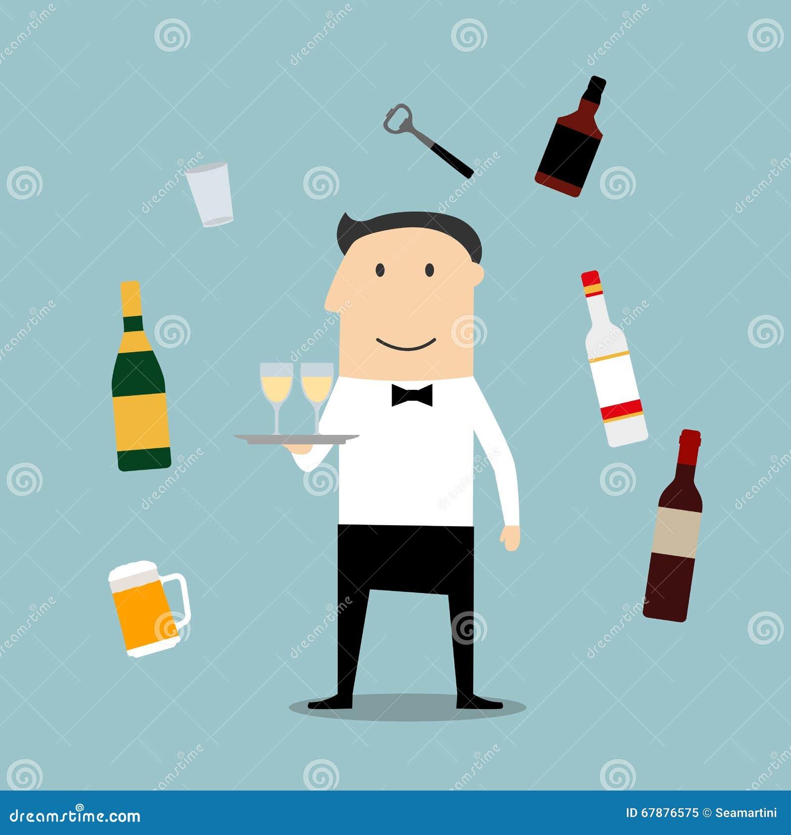 Profesión del camarero del restaurante e iconos de las bebidas